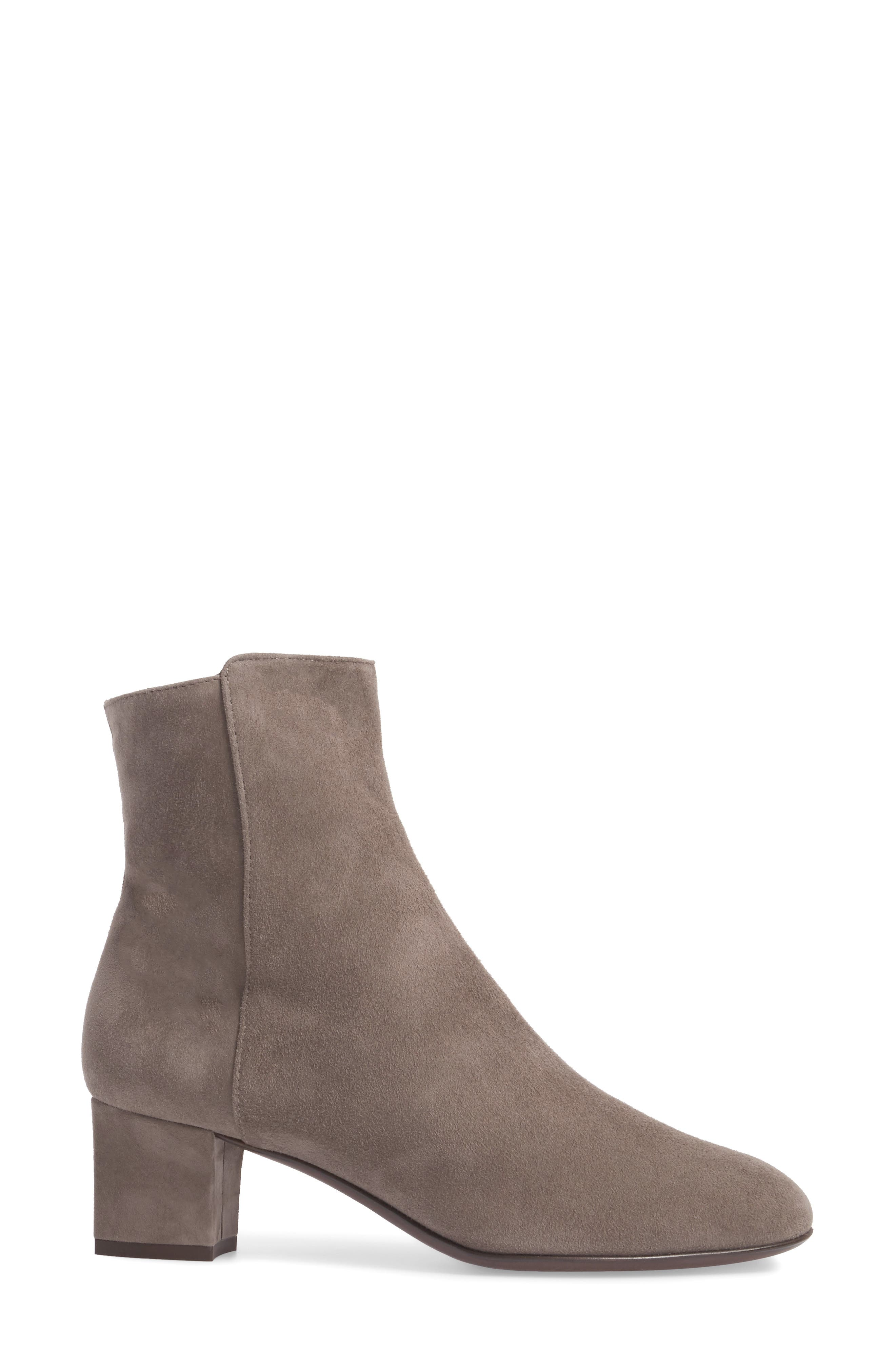 Block Heel Stretch Bootie,                             Alternate thumbnail 3, color,                             Pewter Suede