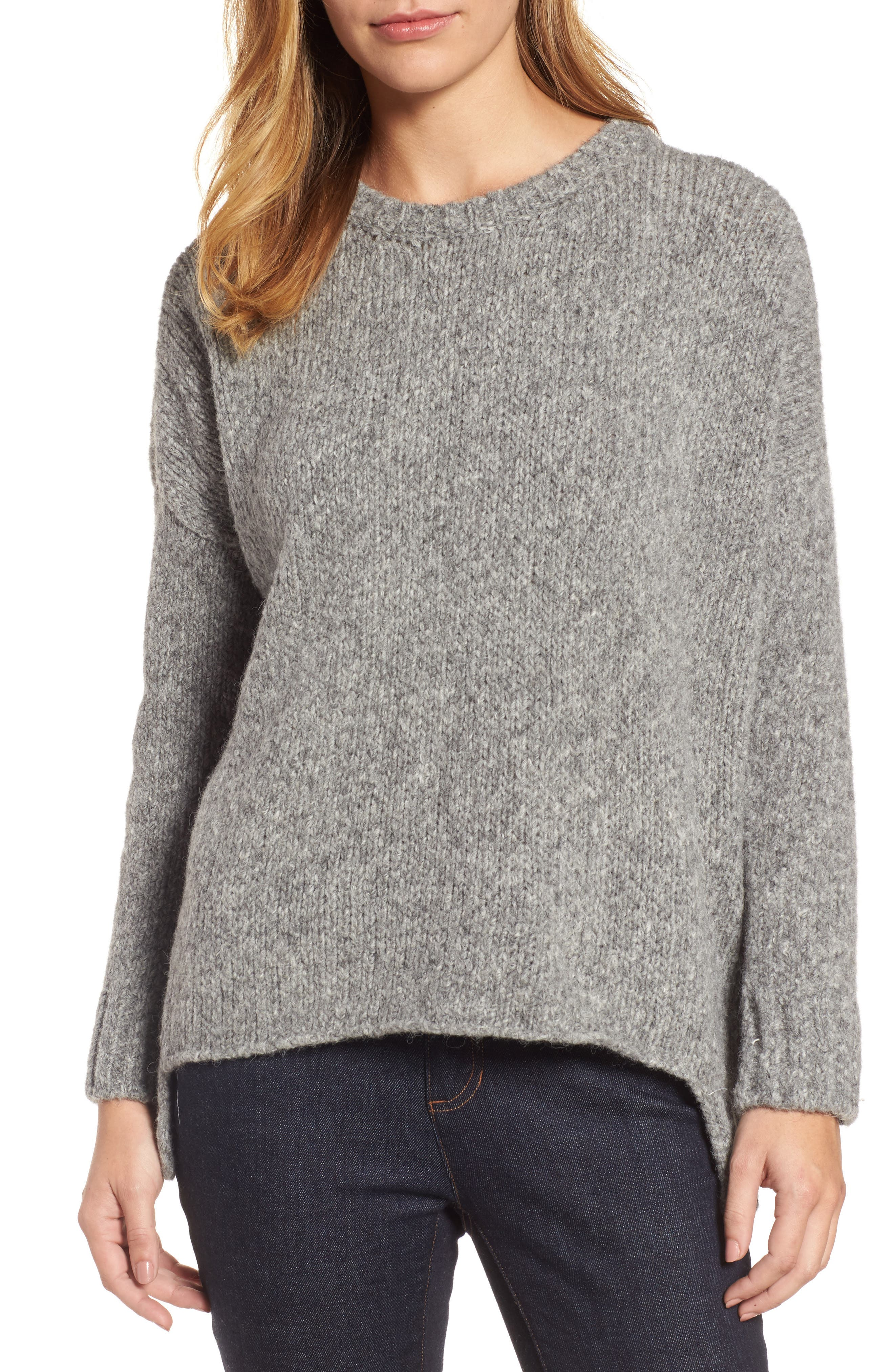 High/Low Alpaca Blend Sweater,                         Main,                         color, Moon
