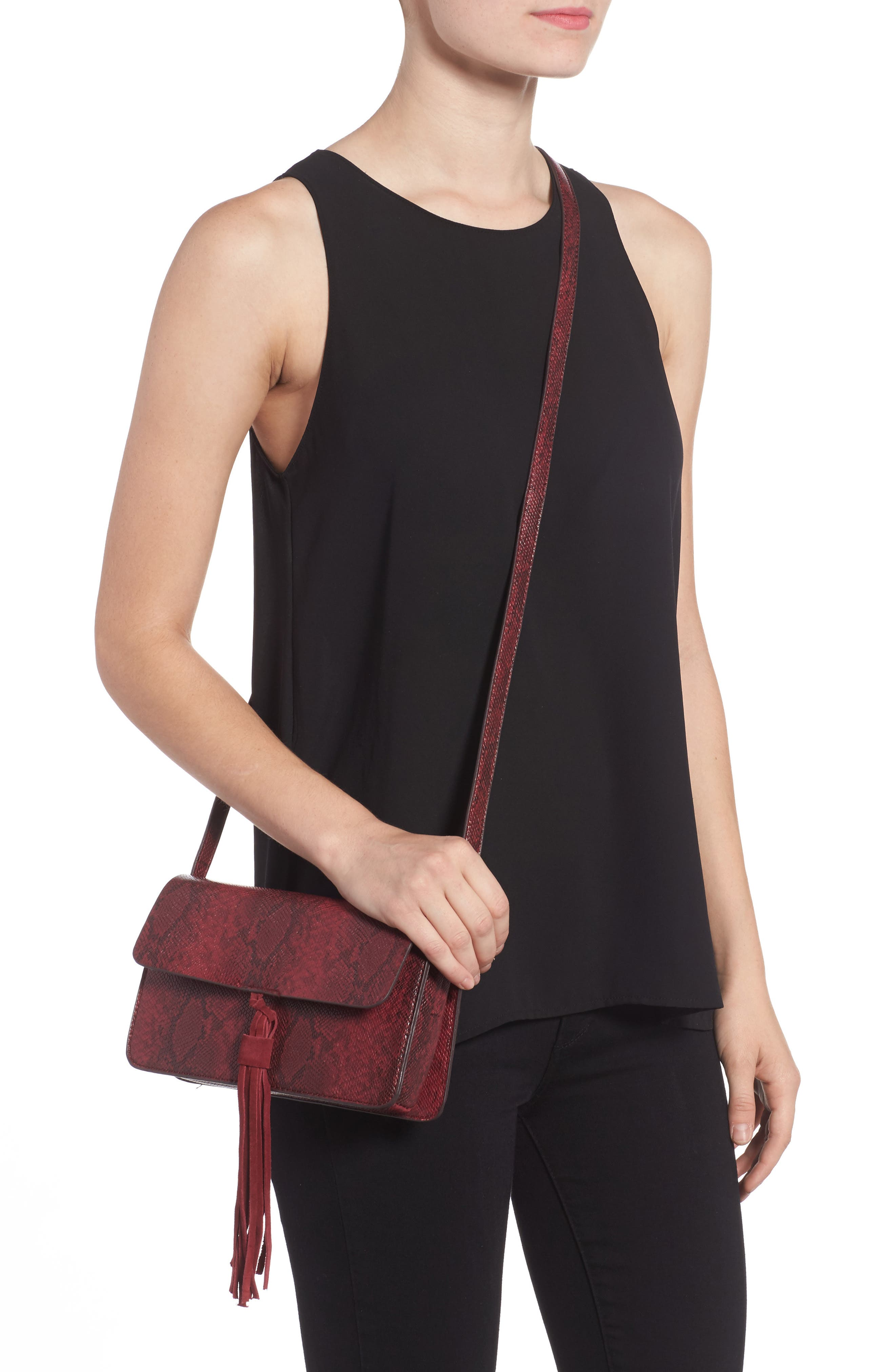 Alternate Image 2  - Street Level Snake Embossed Faux Leather Crossbody Bag