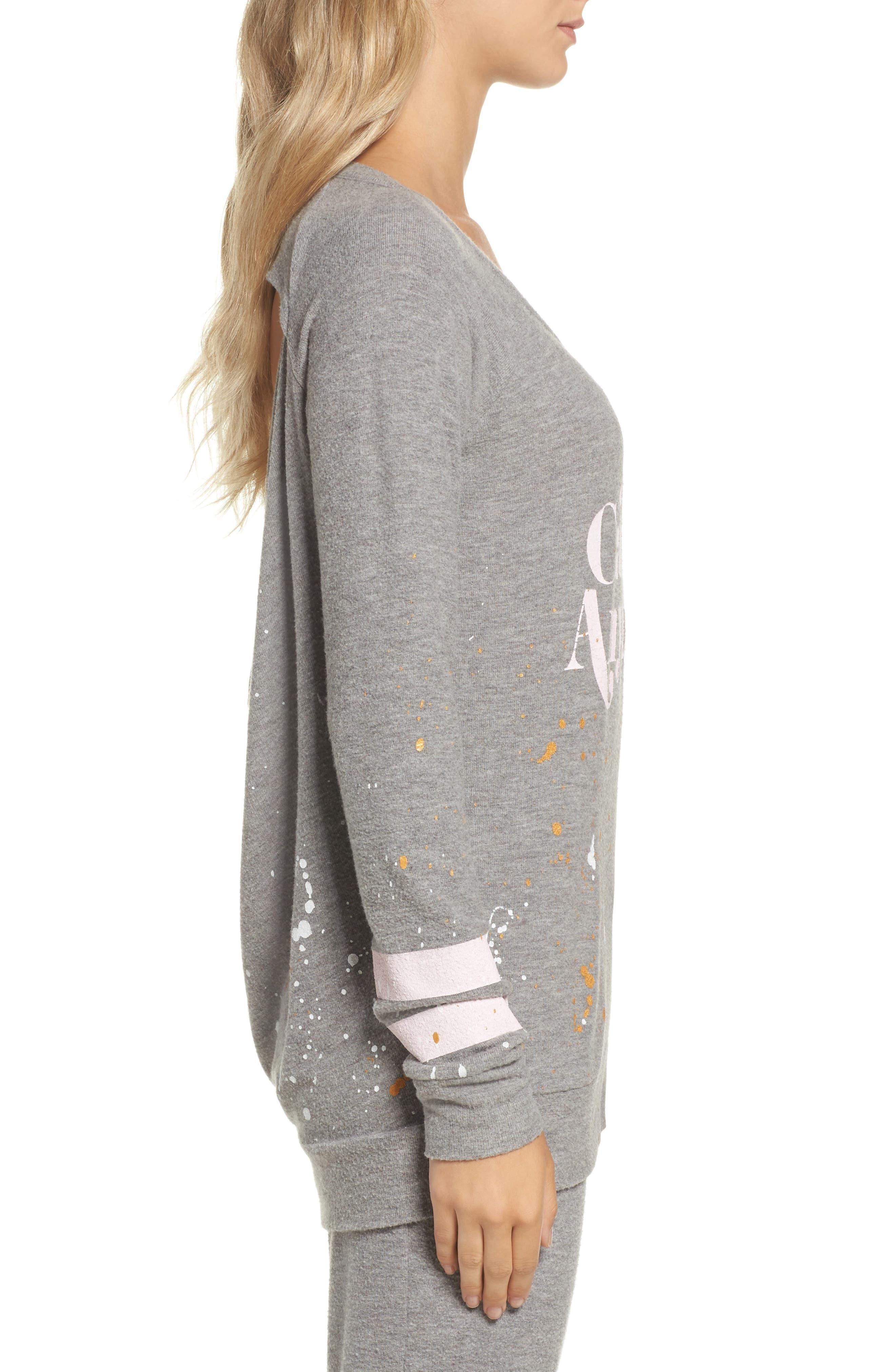 Love Knit Draped Back Sweatshirt,                             Alternate thumbnail 3, color,                             Heather Grey