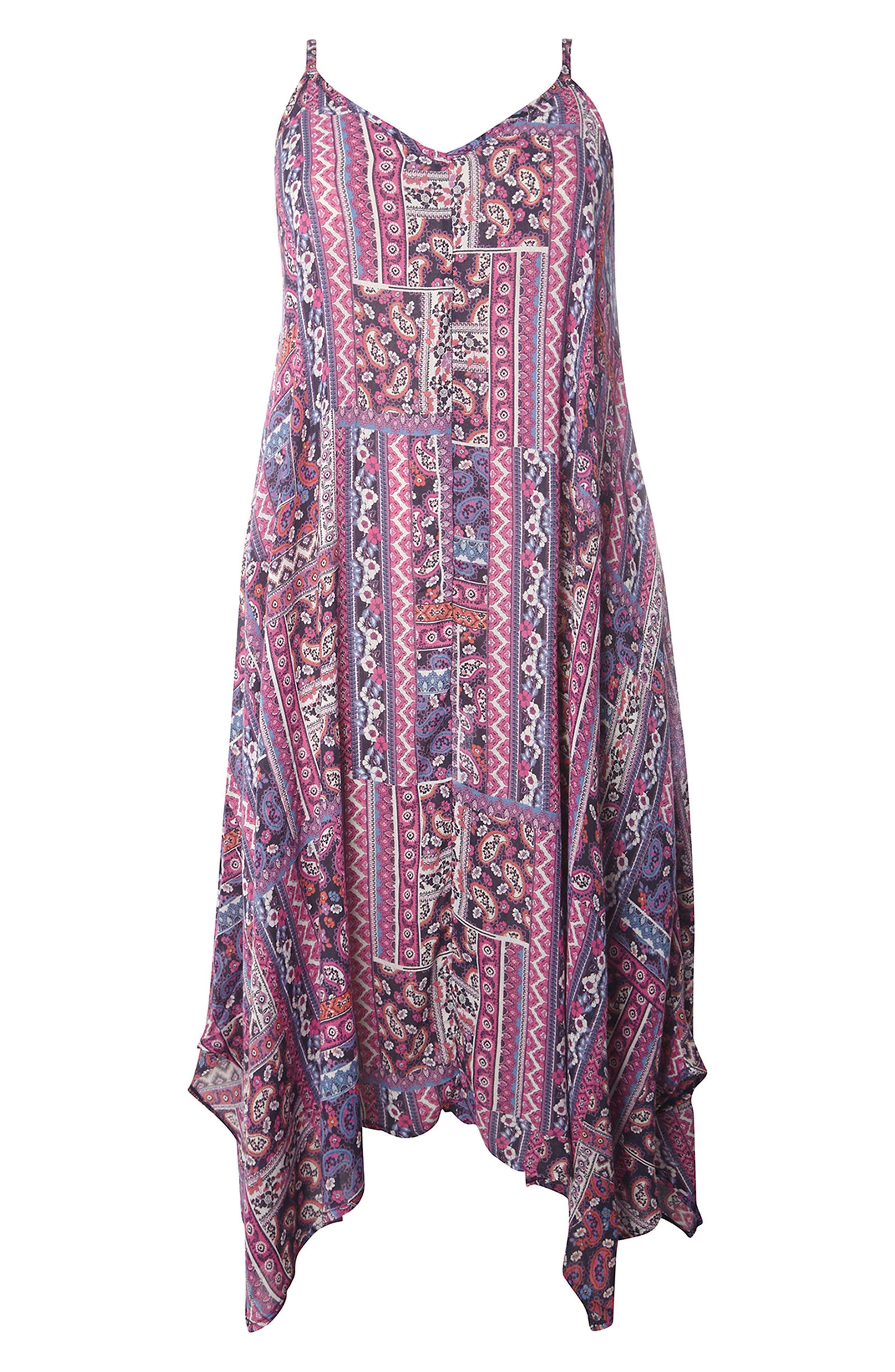Alternate Image 4  - Evans Handkerchief Hem Print A-Line Dress (Plus Size)