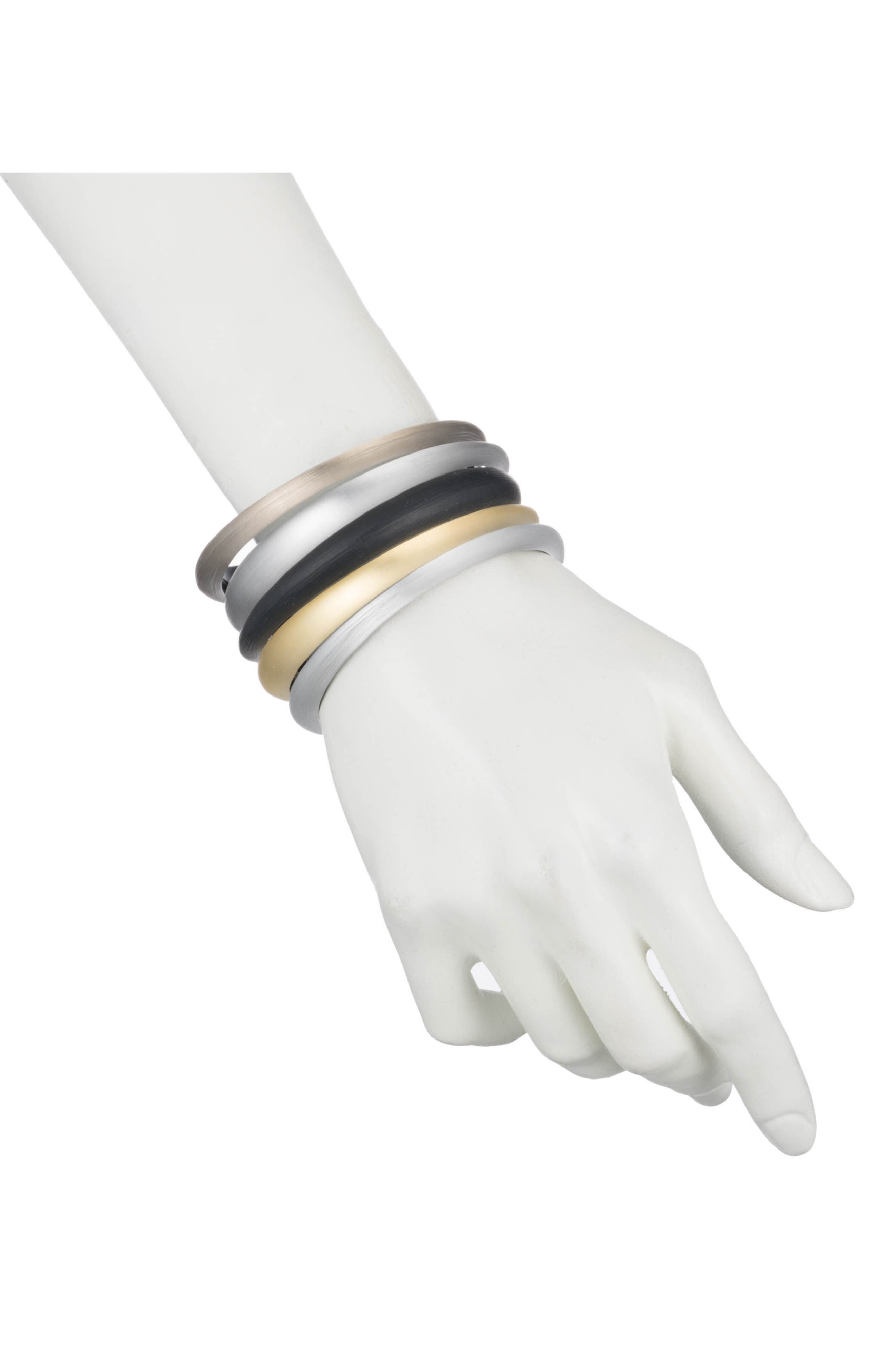 Lucite<sup>®</sup> Set of 5 Tapered Bangles,                             Alternate thumbnail 2, color,                             Grey/ Gold/ Black
