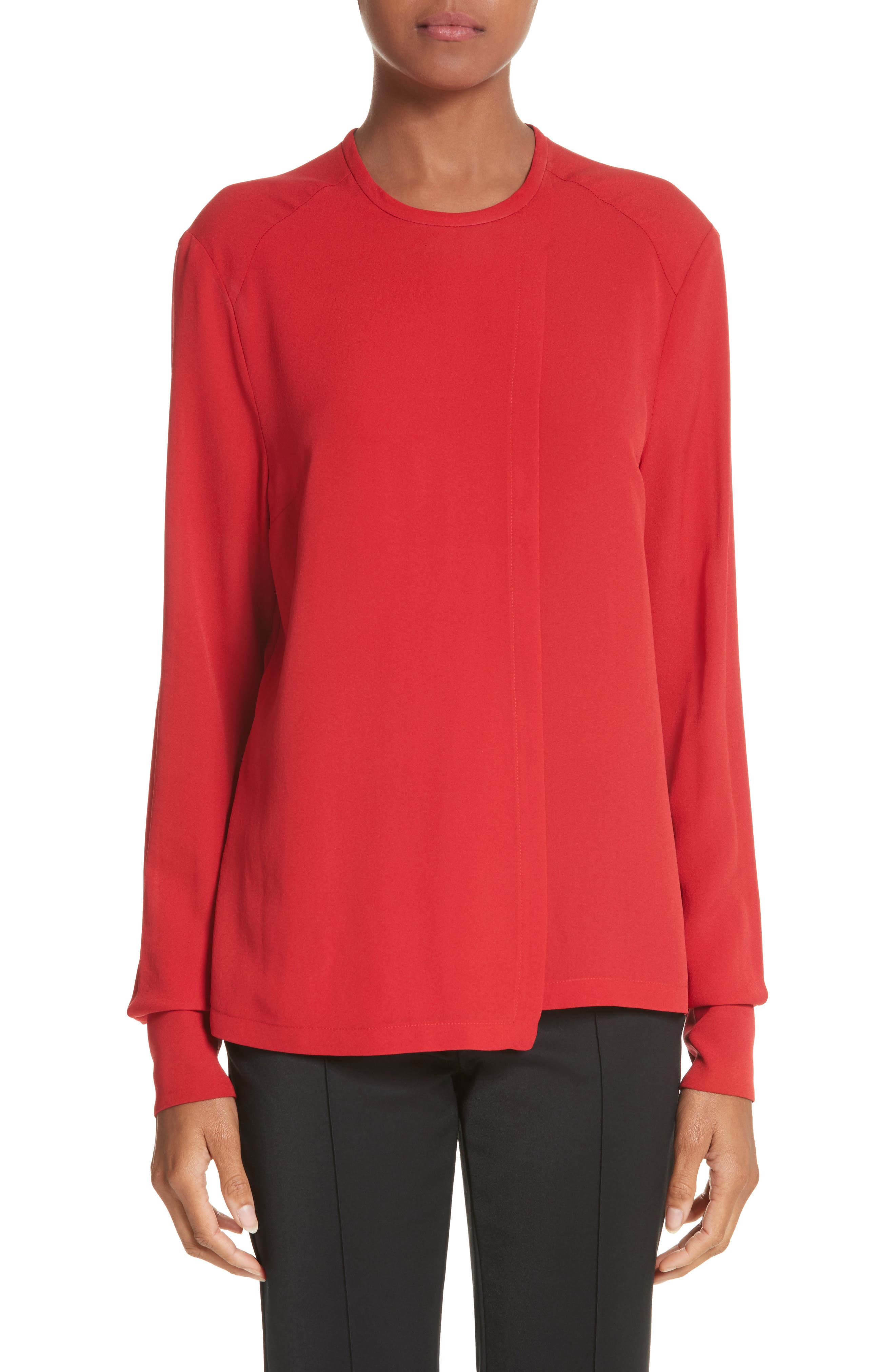 Silk Georgette Top,                             Main thumbnail 1, color,                             Scarlet