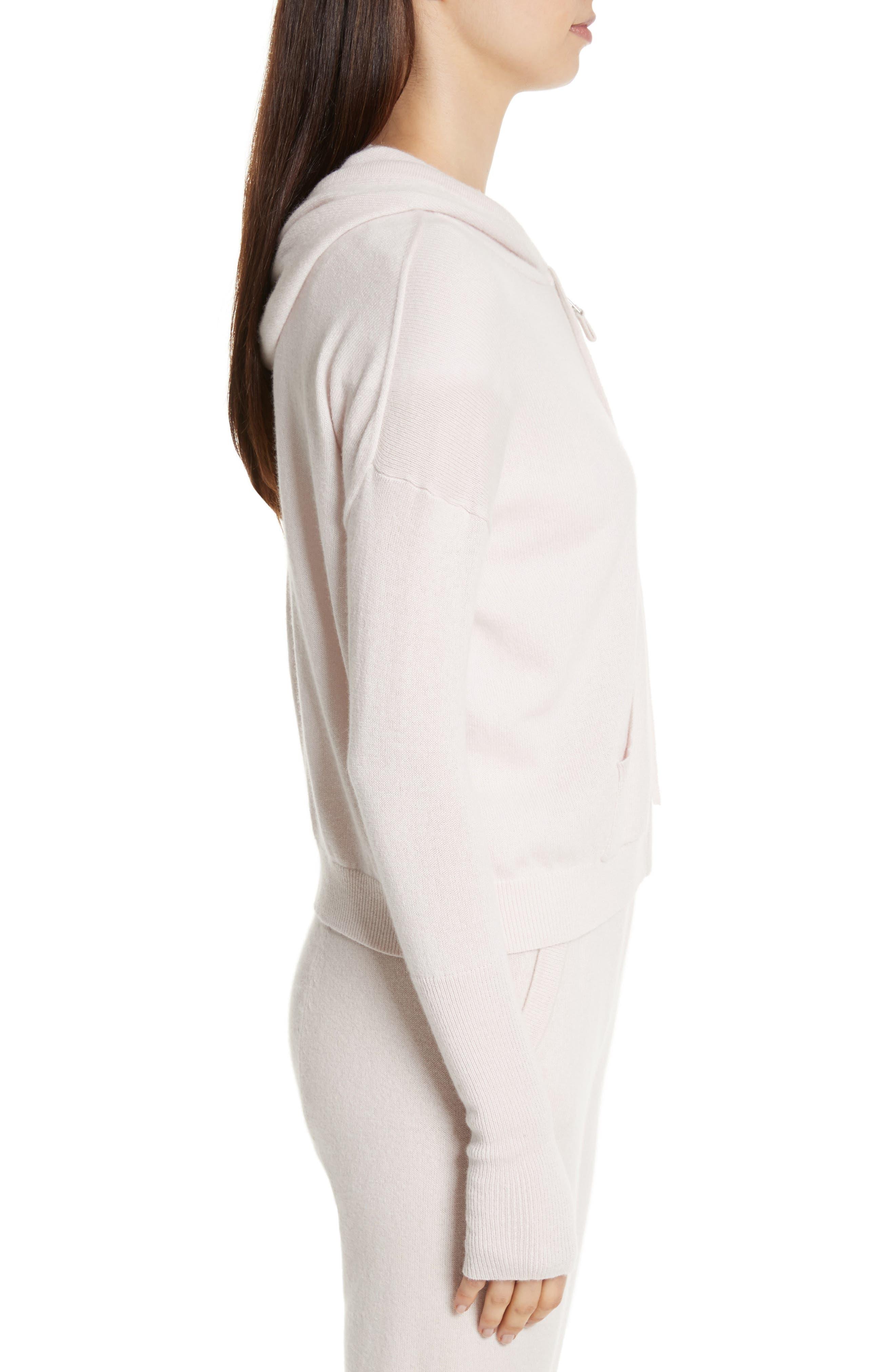 Elisha Cashmere Zip Front Hoodie,                             Alternate thumbnail 5, color,                             Blush