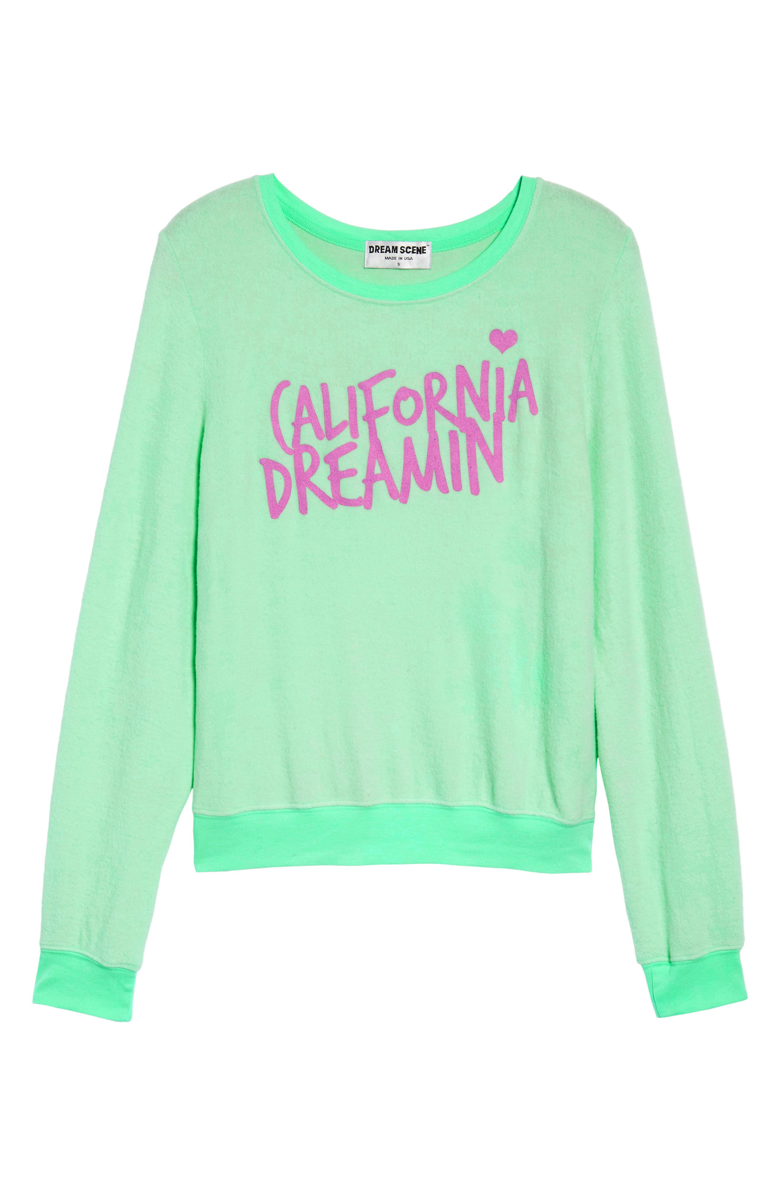 California Dreamin Sweatshirt,                             Alternate thumbnail 6, color,                             Mint Julep