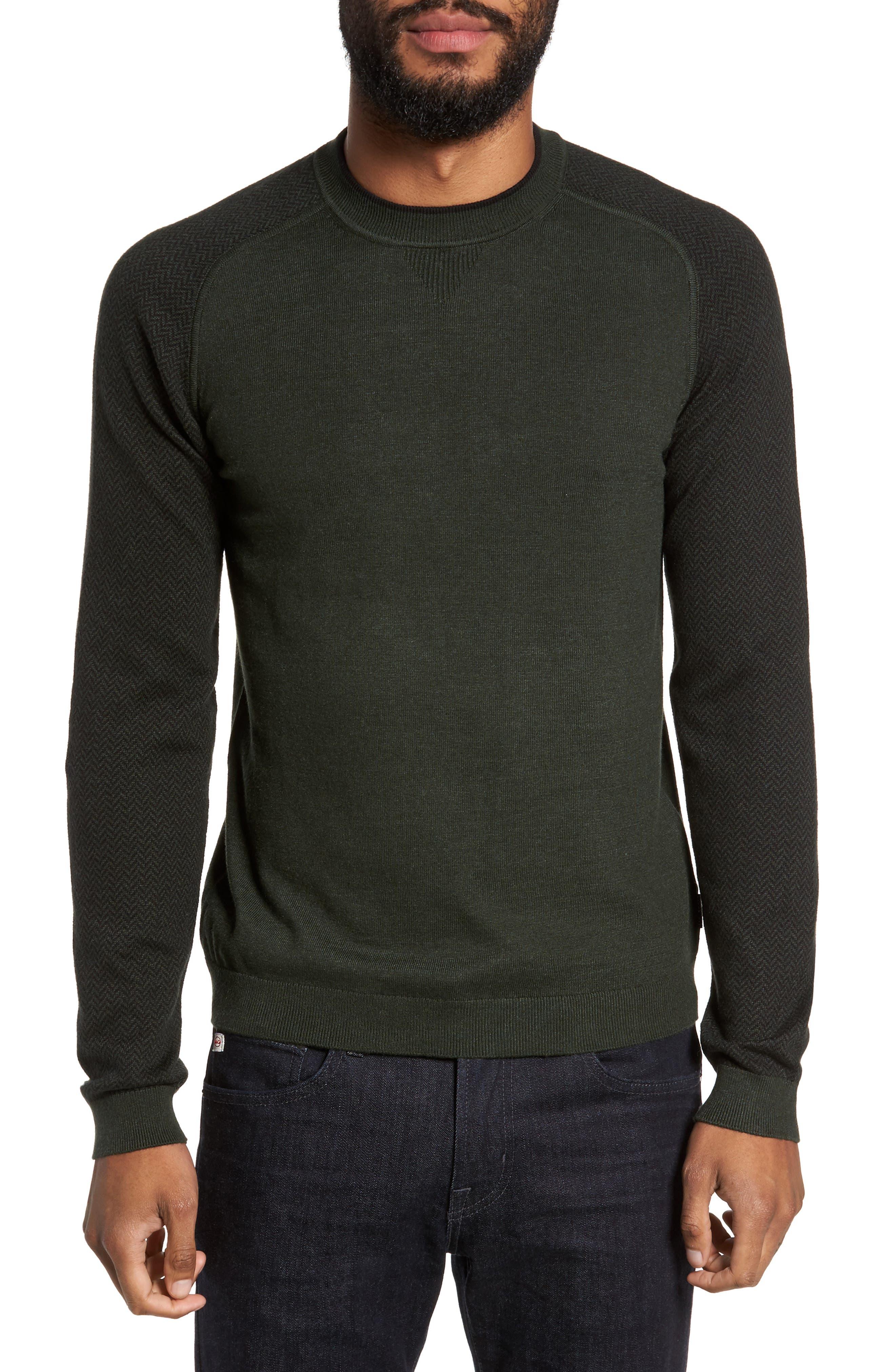 Pepmint Herringbone Sleeve Sweatshirt,                             Main thumbnail 1, color,                             Khaki