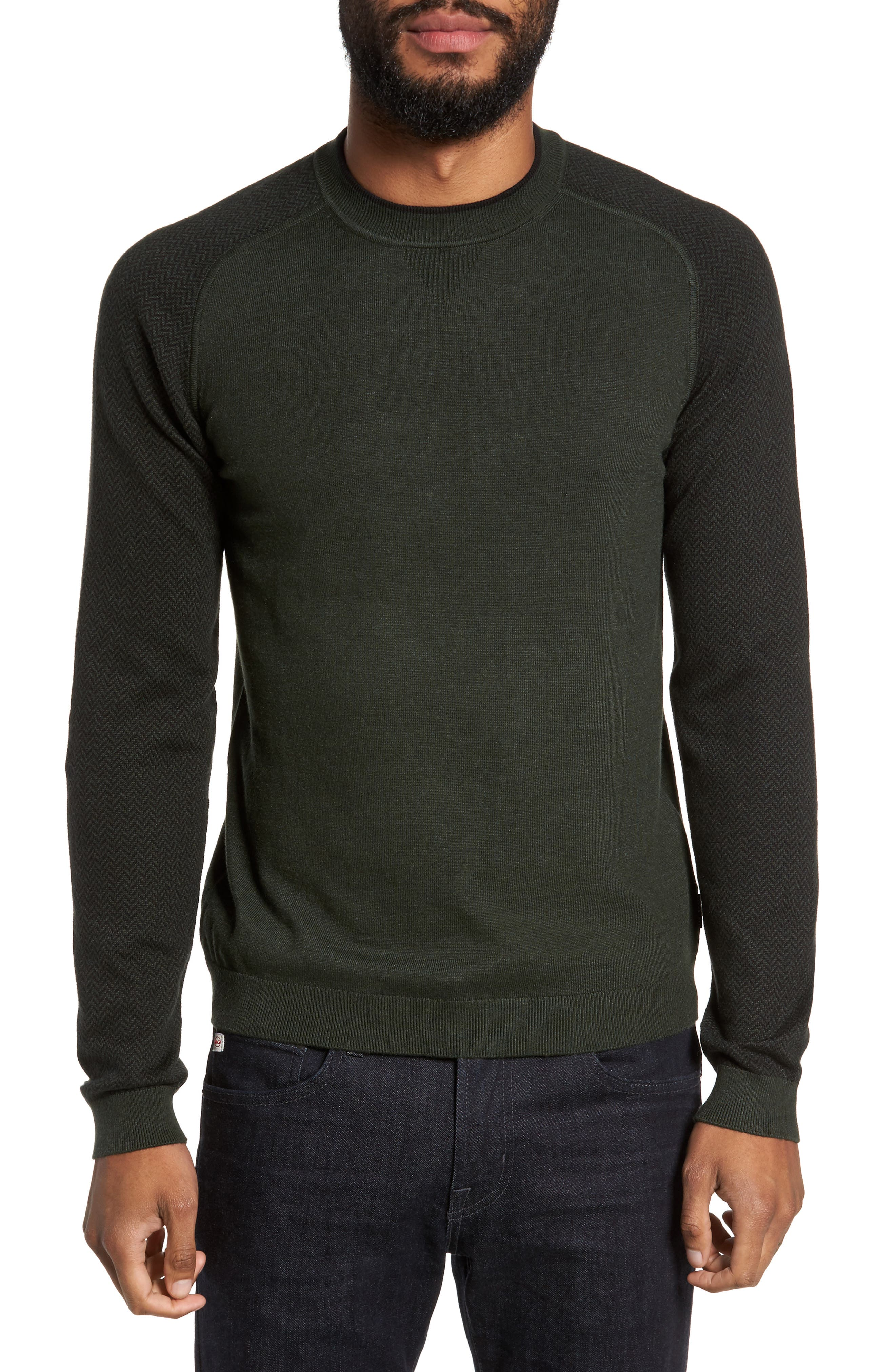 Pepmint Herringbone Sleeve Sweatshirt,                         Main,                         color, Khaki