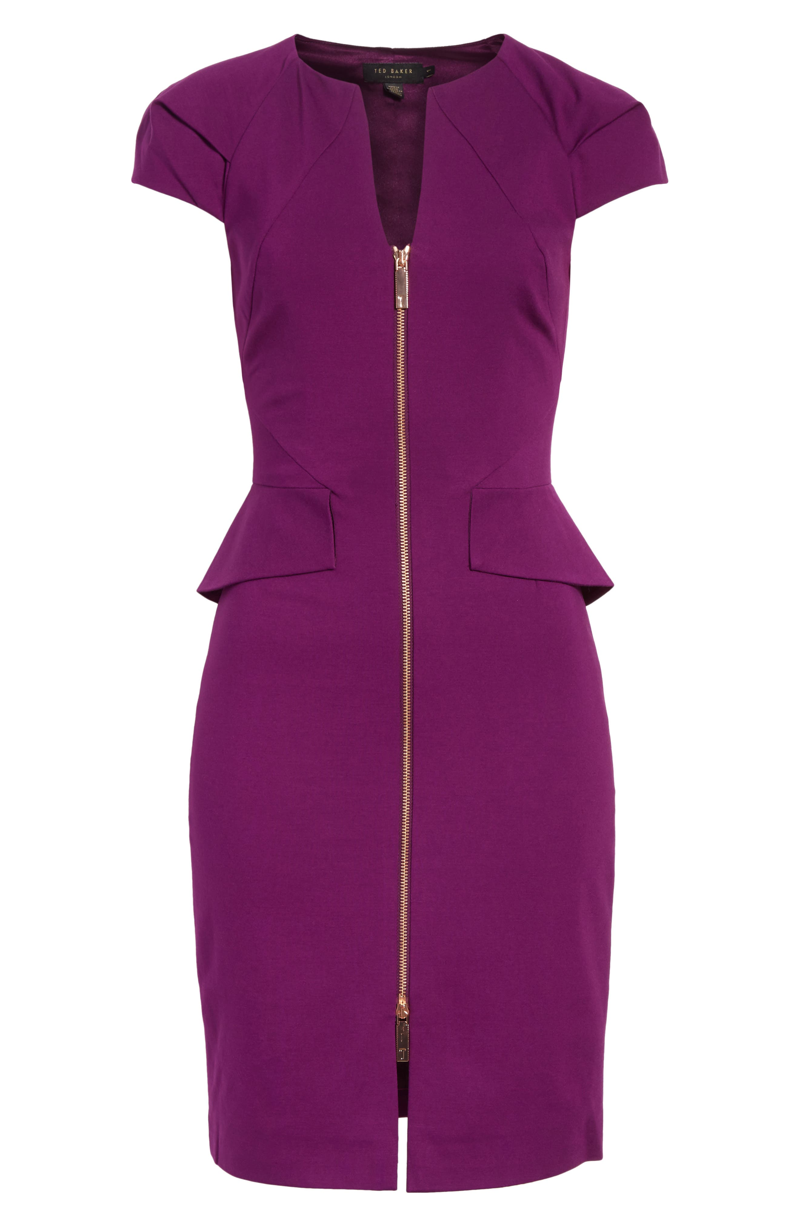 Fidelle Structured Peplum Dress,                             Alternate thumbnail 6, color,                             Deep Purple