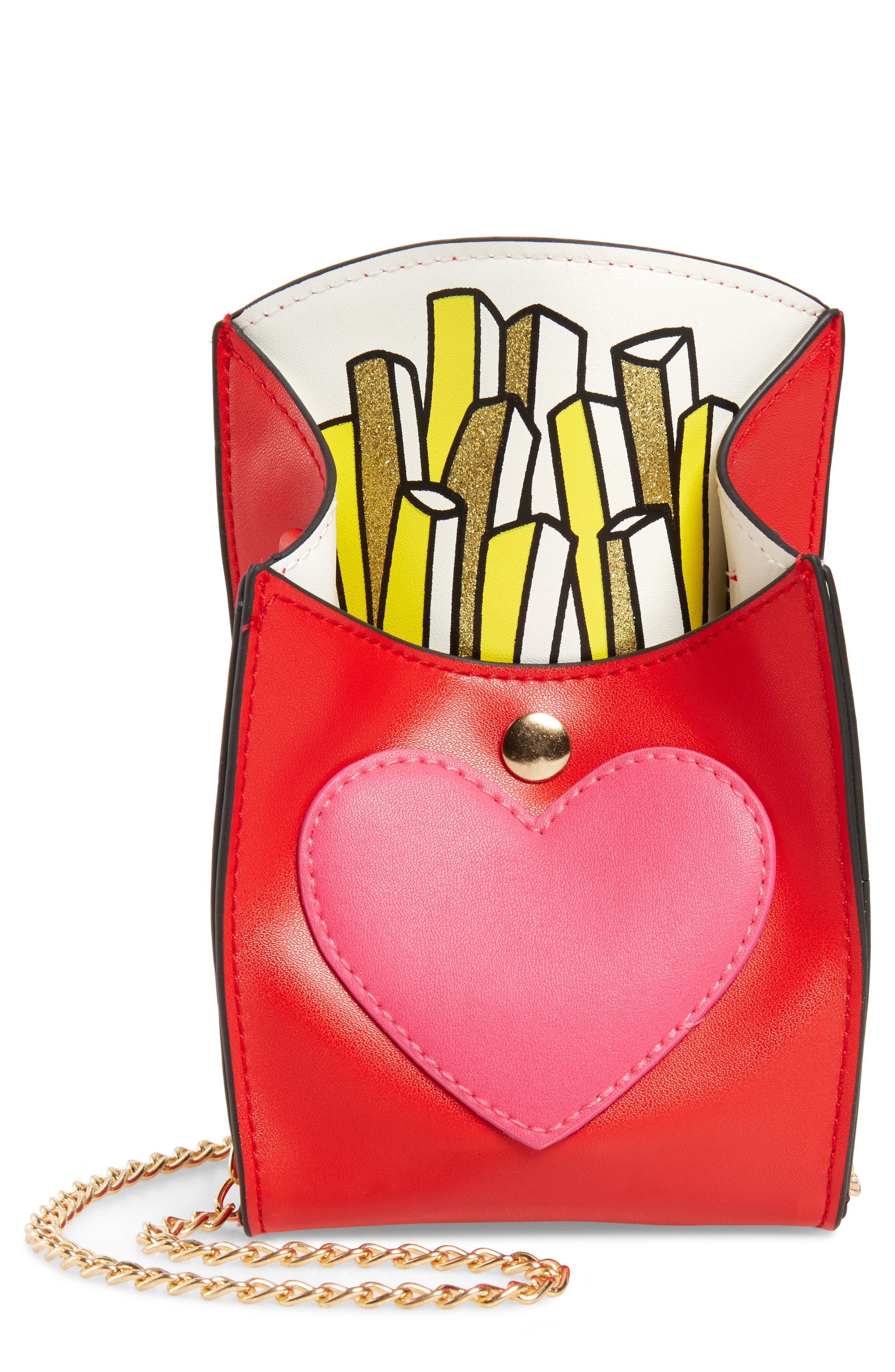 French Fries Faux Leather Bag,                         Main,                         color, Red Combo