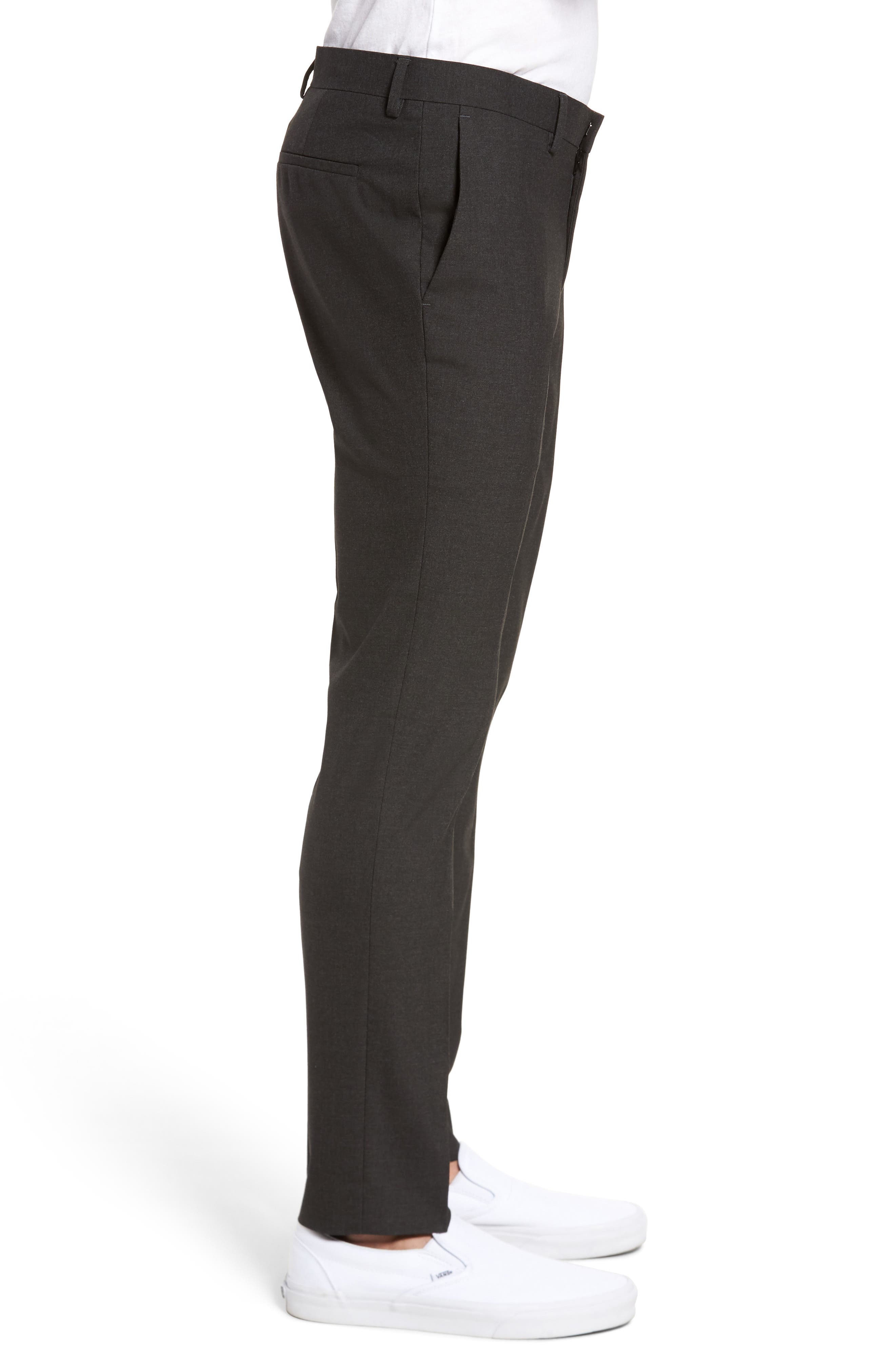 Black Skinny Fit Trousers,                             Alternate thumbnail 3, color,                             Charcoal