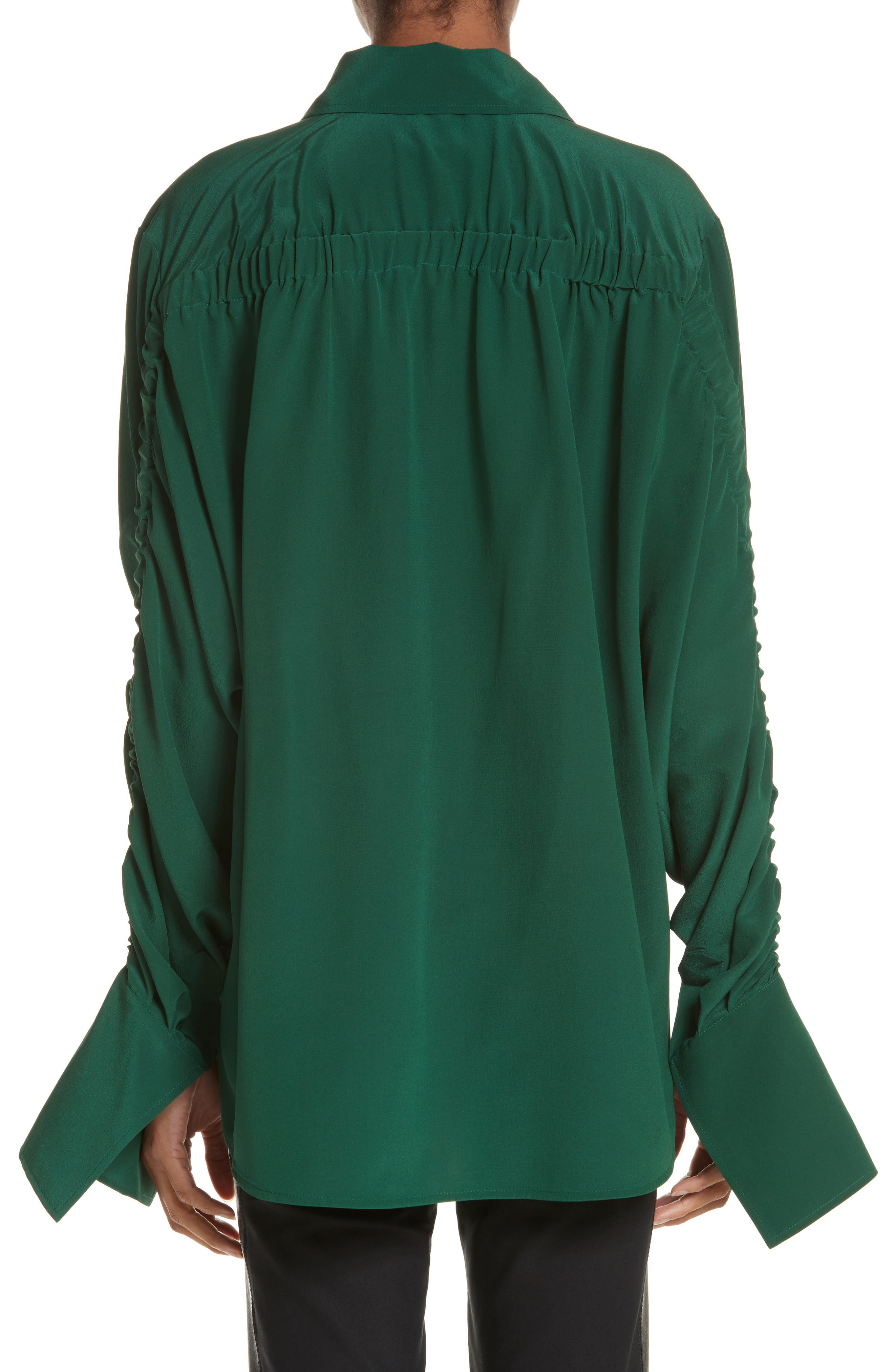 Ruched Flare Cuff Silk Shirt,                             Alternate thumbnail 2, color,                             Leaf Green