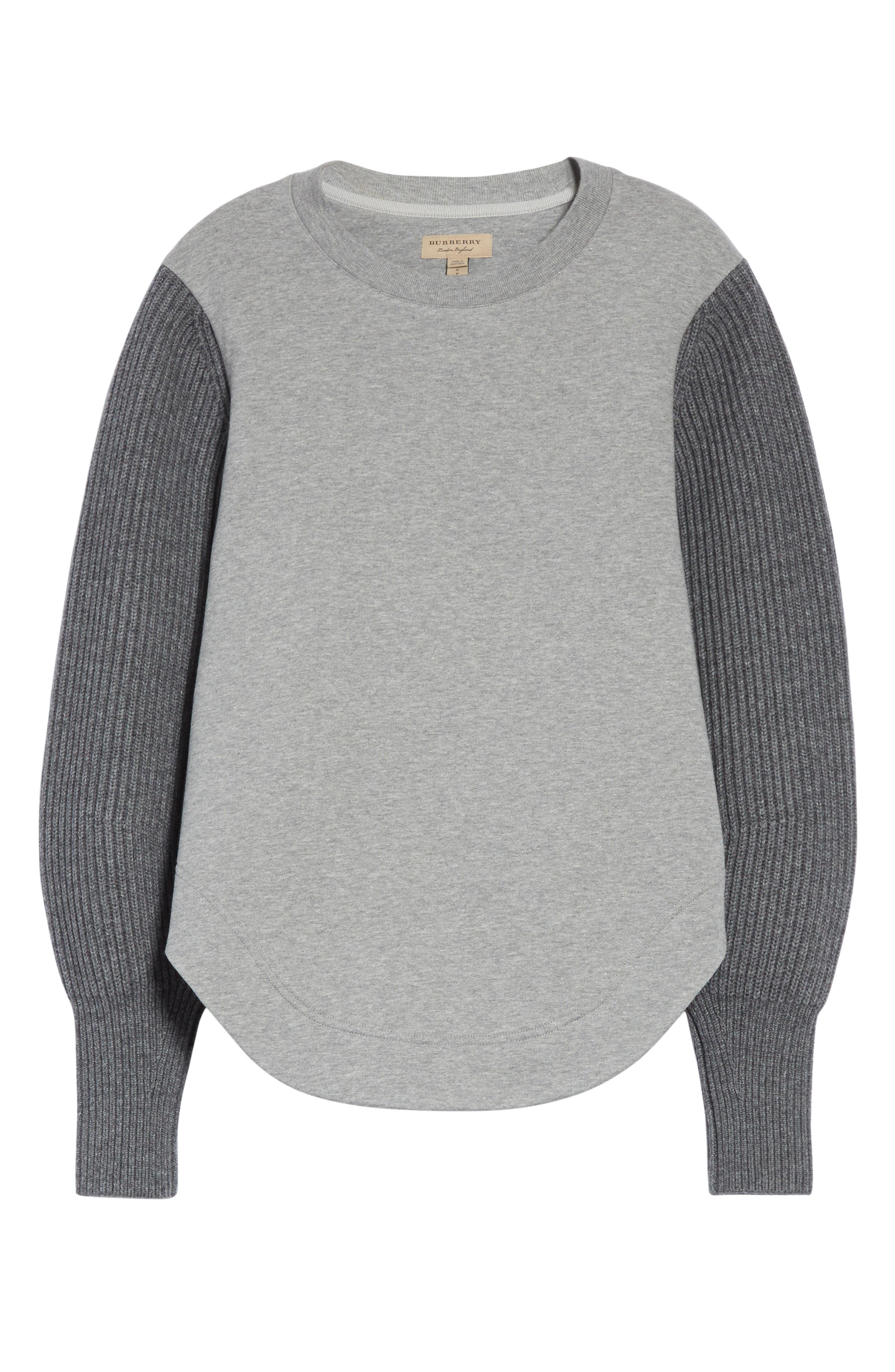 Alternate Image 6  - Burberry Alcobaca Rib Knit Sleeve Sweatshirt