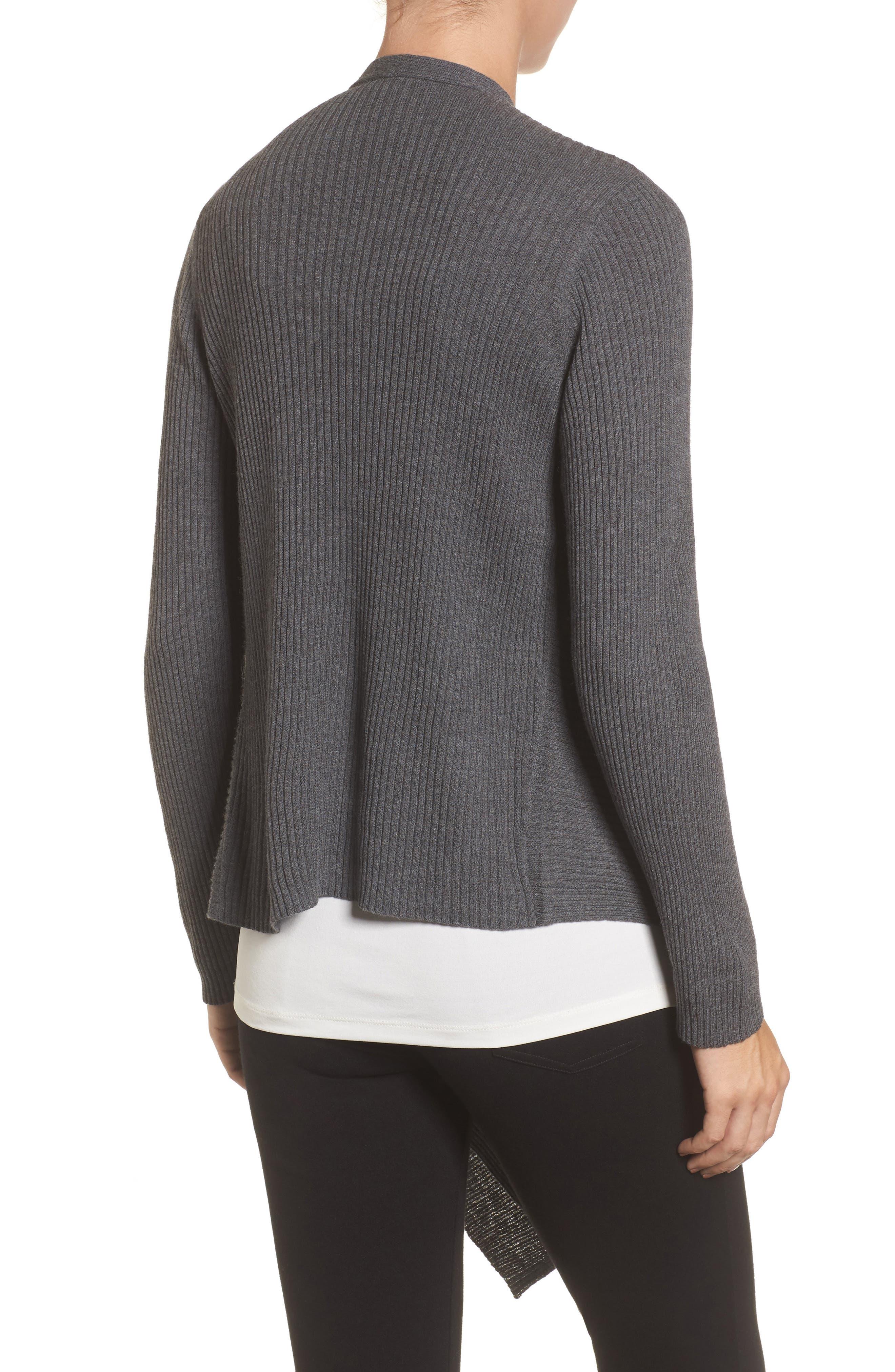 Alternate Image 2  - Eileen Fisher Drape Front Wool Cardigan