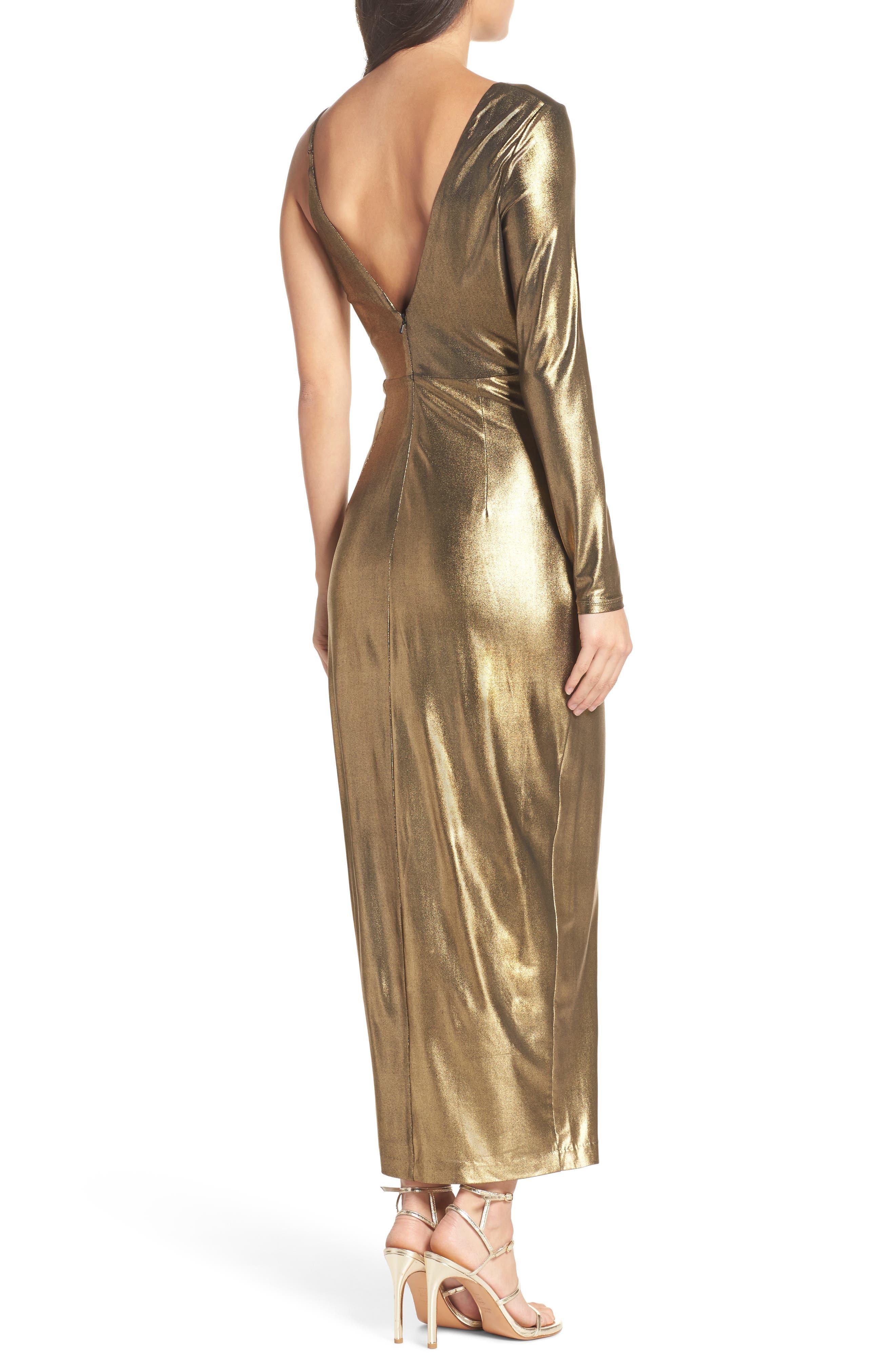 Aurel Metallic Dress,                             Alternate thumbnail 2, color,                             Golden