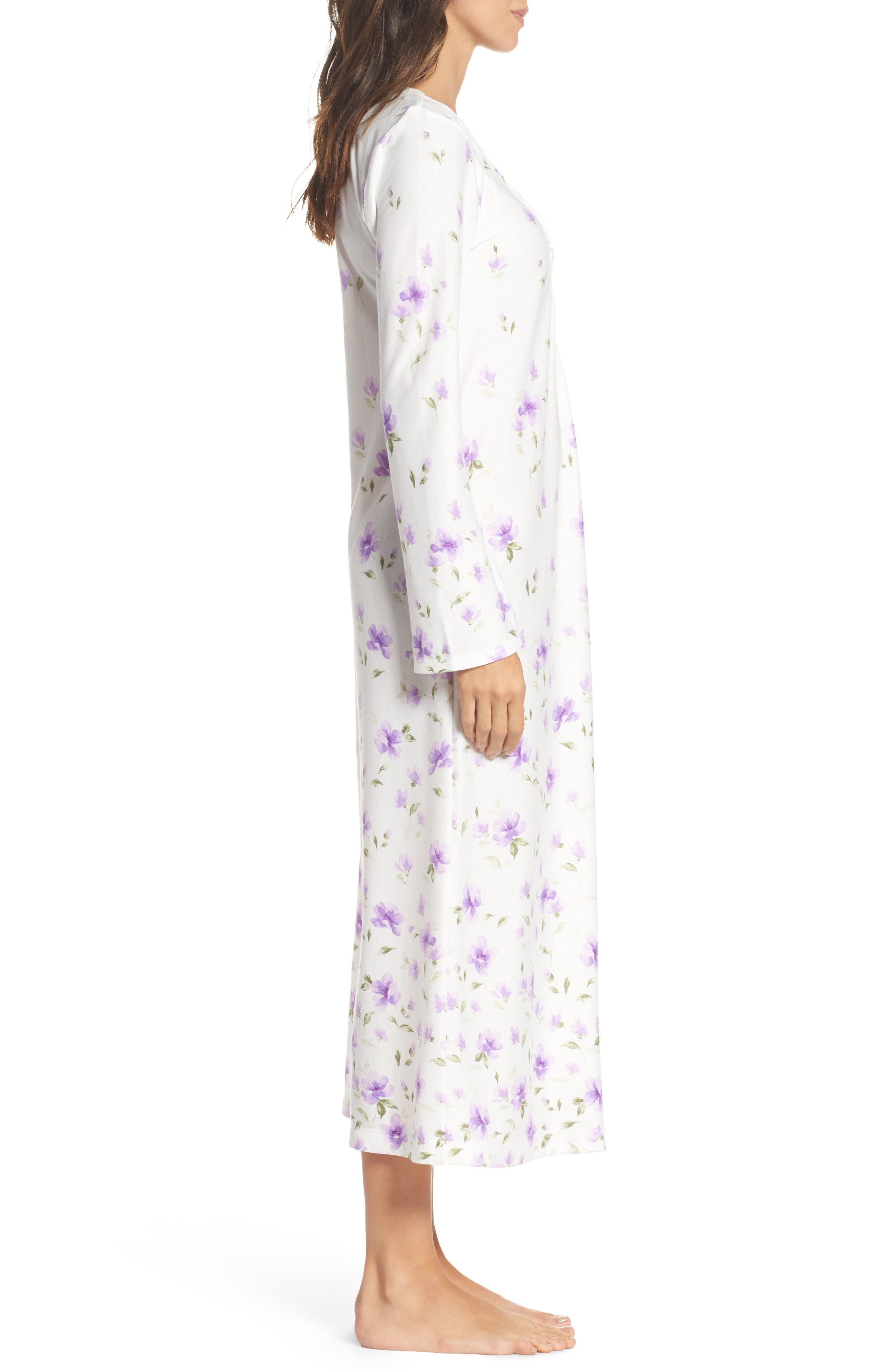 Long Nightgown,                             Alternate thumbnail 3, color,                             Watercolor Floral Border