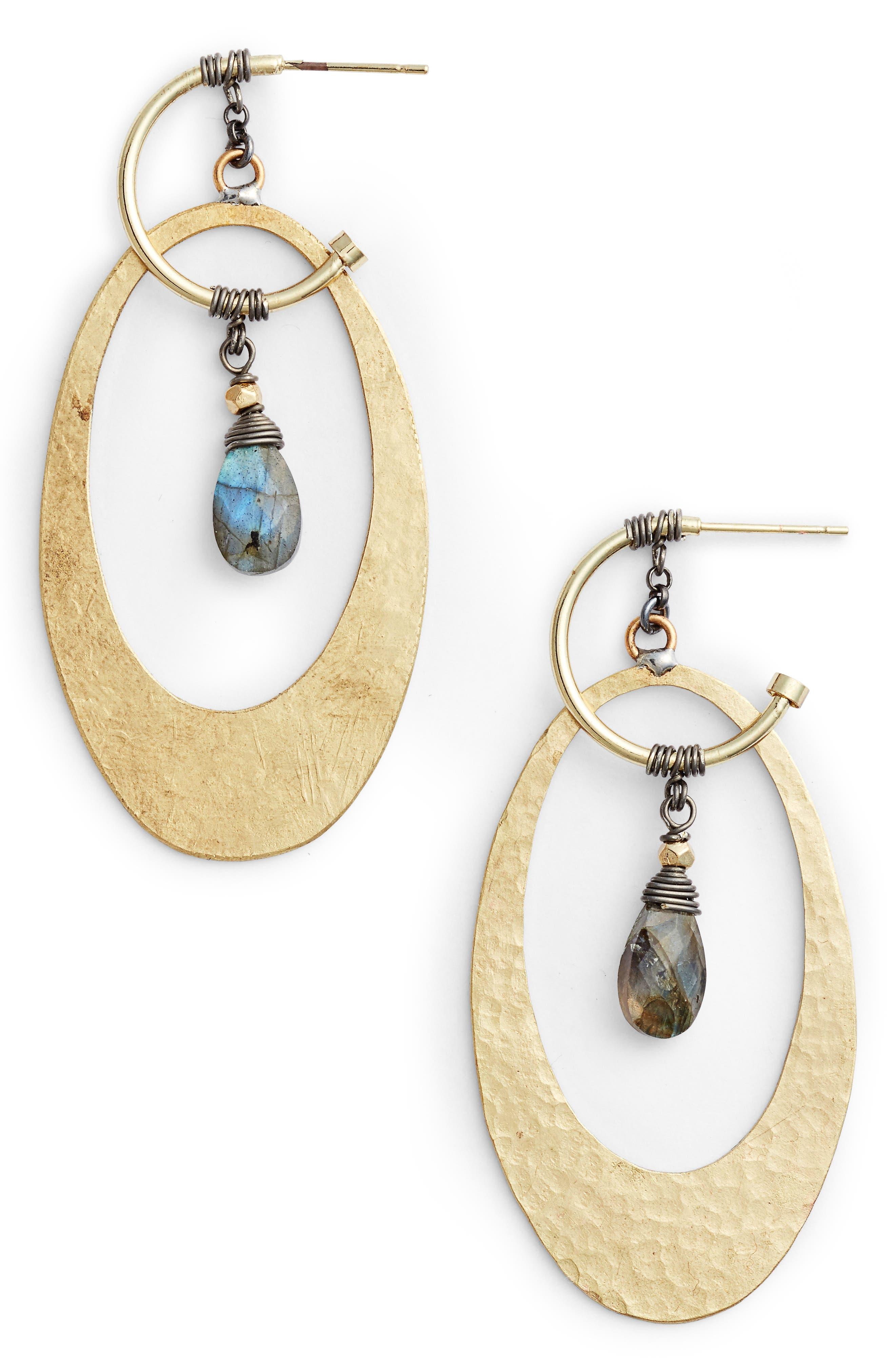Oval Labradorite Earrings,                         Main,                         color, Grey