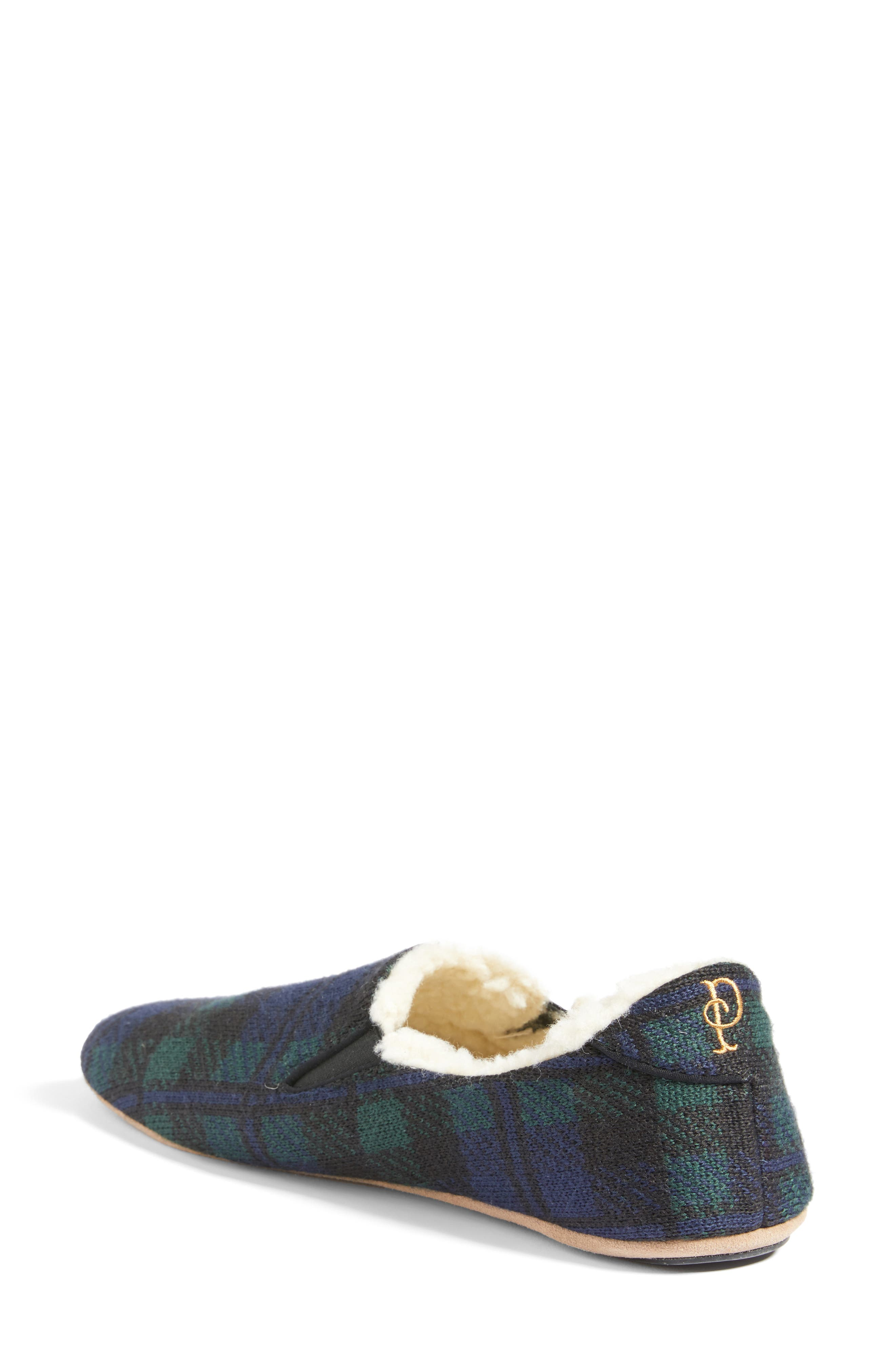 Black Watch Plaid Nomad Slippers,                             Alternate thumbnail 2, color,                             Navy