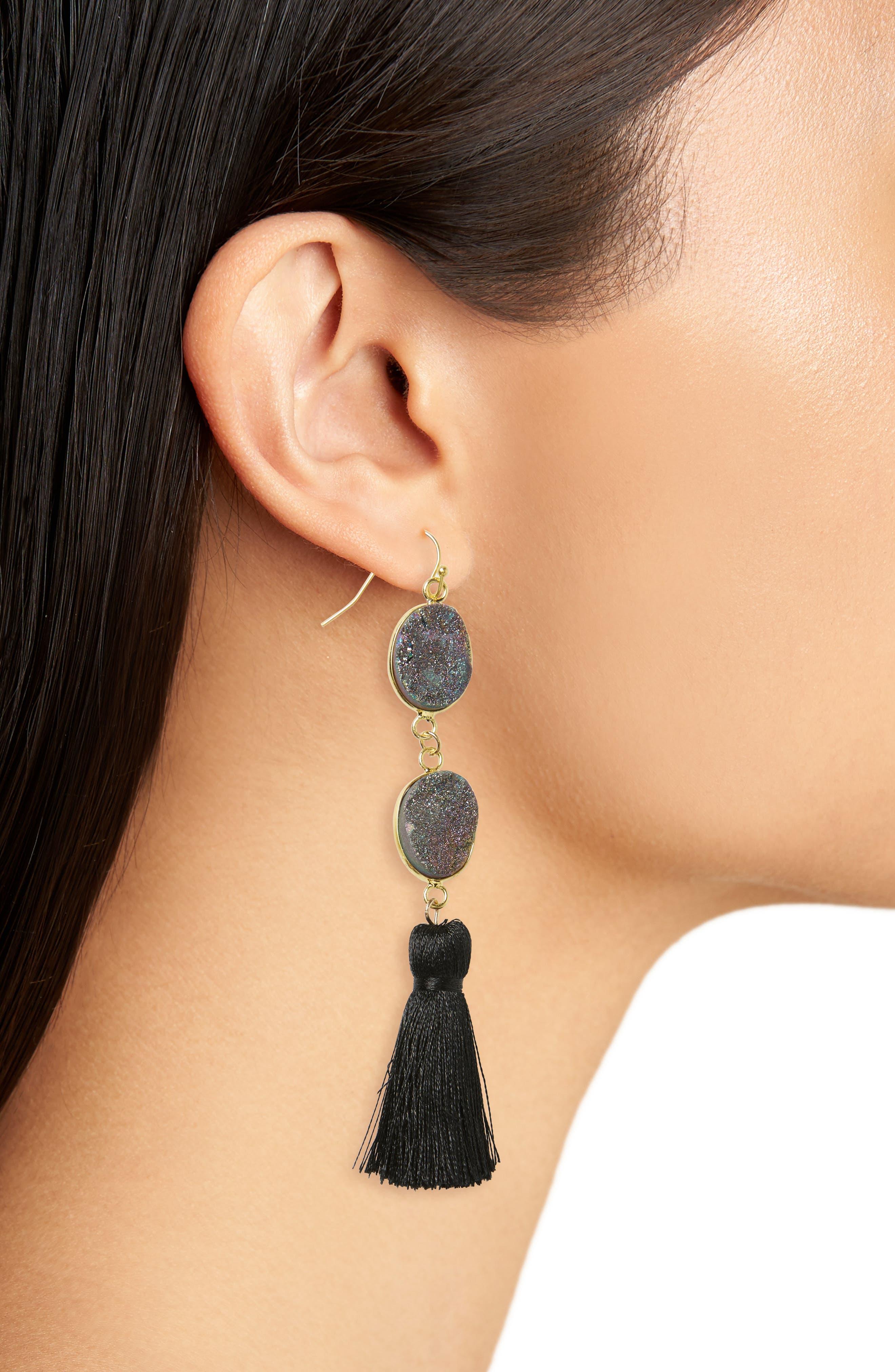 Double Drusy Tassel Earrings,                             Alternate thumbnail 2, color,                             Black