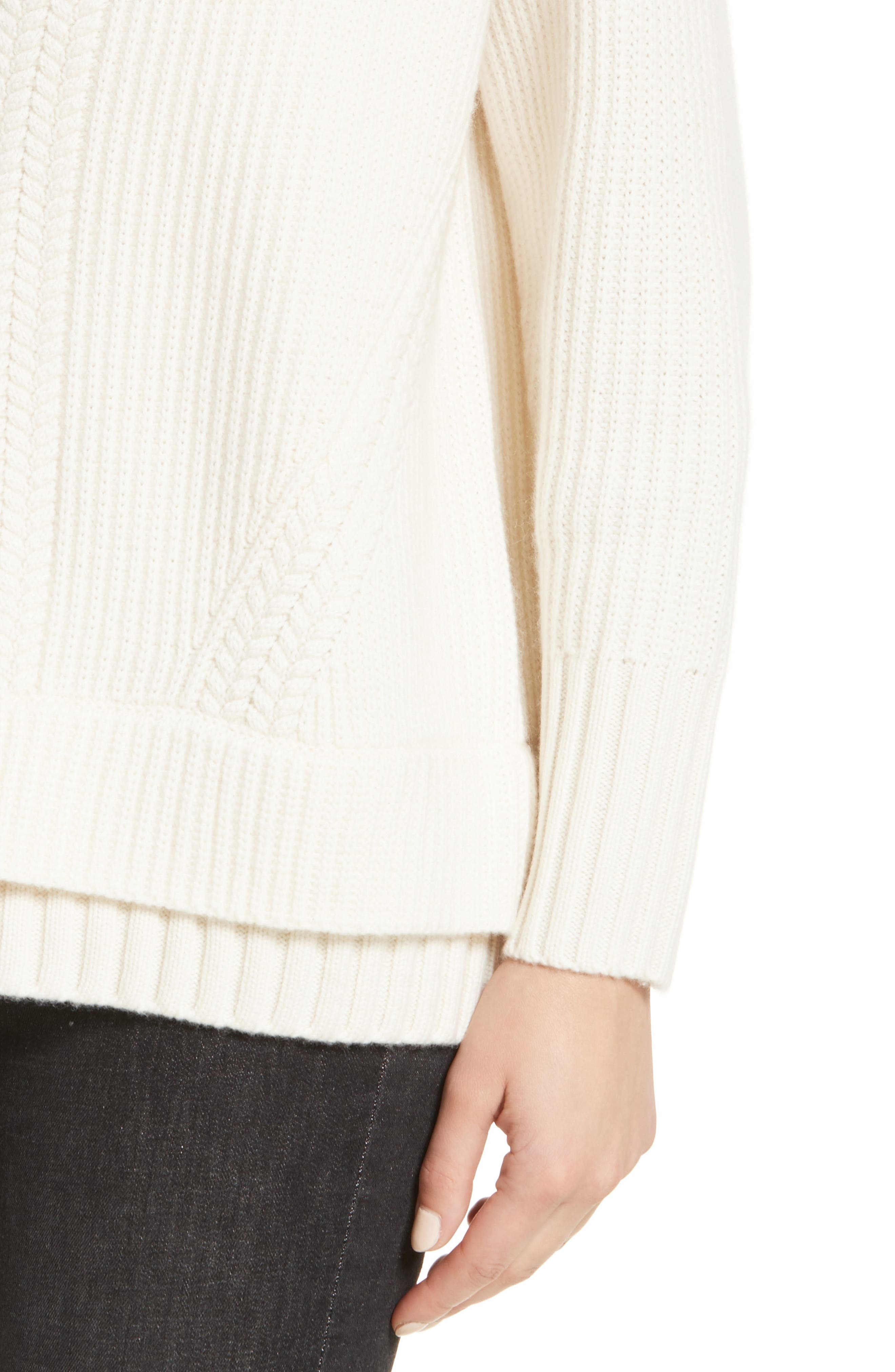 Santerno Wool & Cashmere Cable Knit Sweater,                             Alternate thumbnail 4, color,                             Natural White