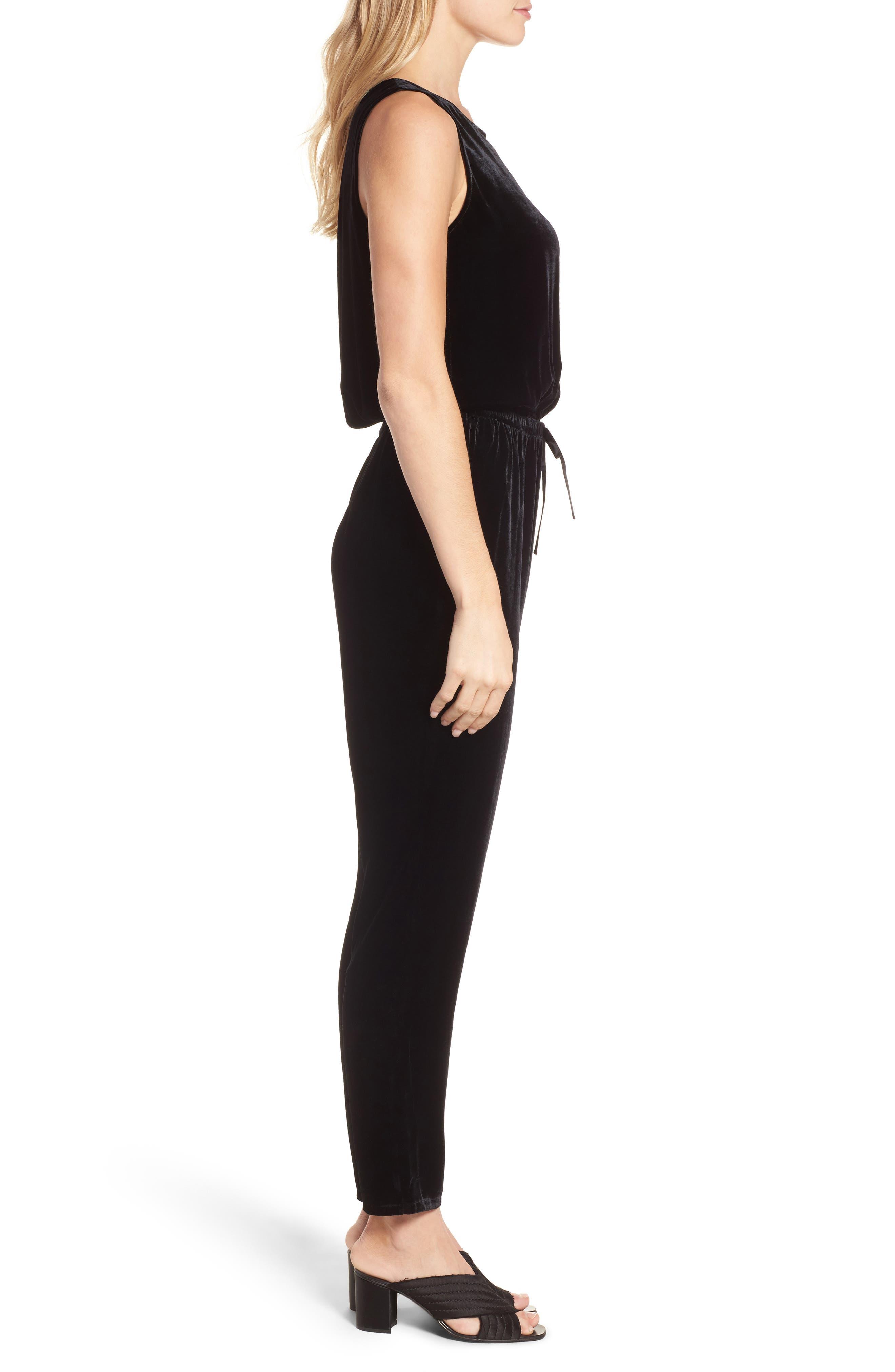 Alternate Image 3  - Eileen Fisher Slouchy Velvet Jumpsuit (Regular & Petite)