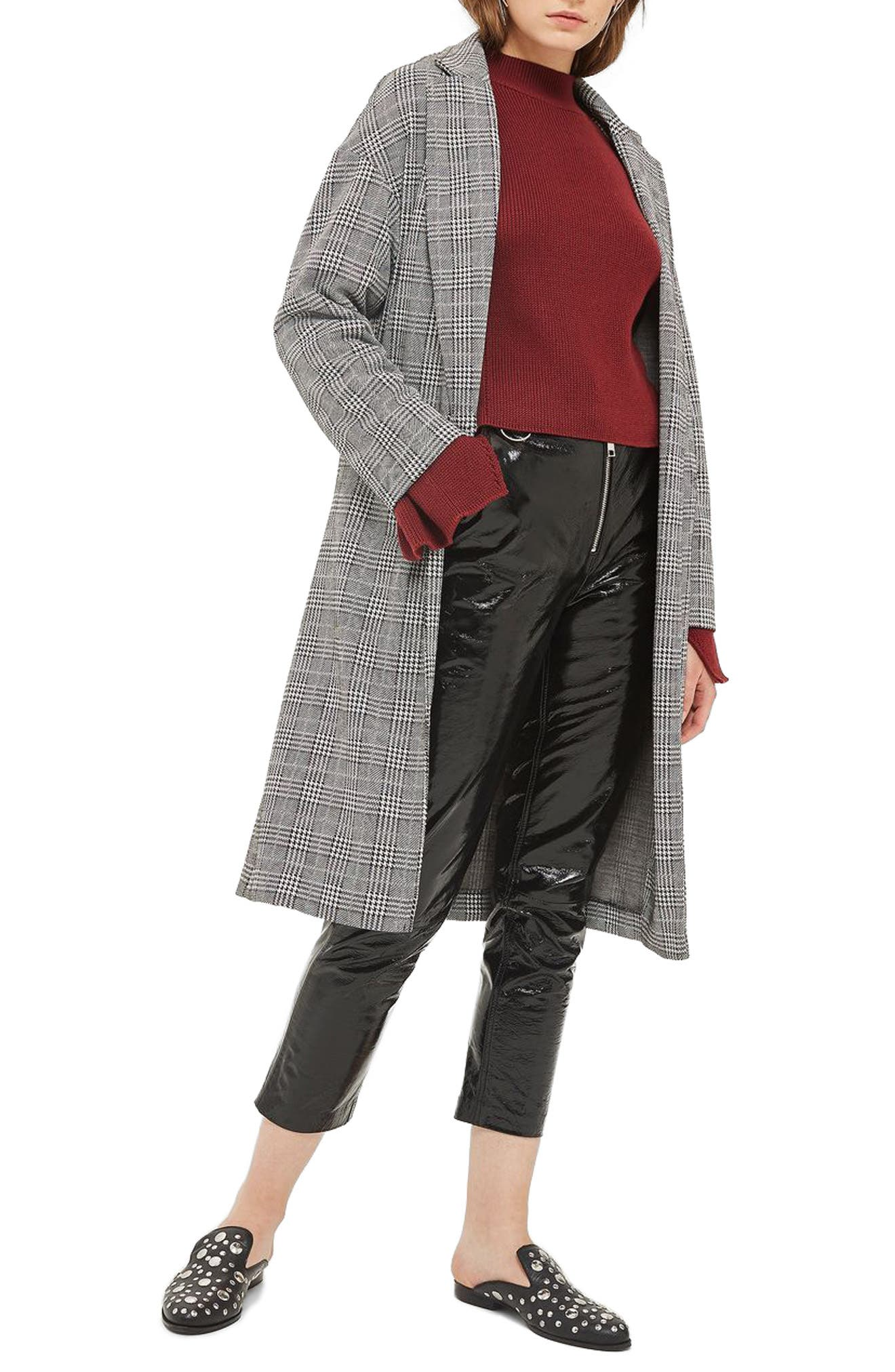 Checkered Pow Jersey Coat,                         Main,                         color, Black Multi