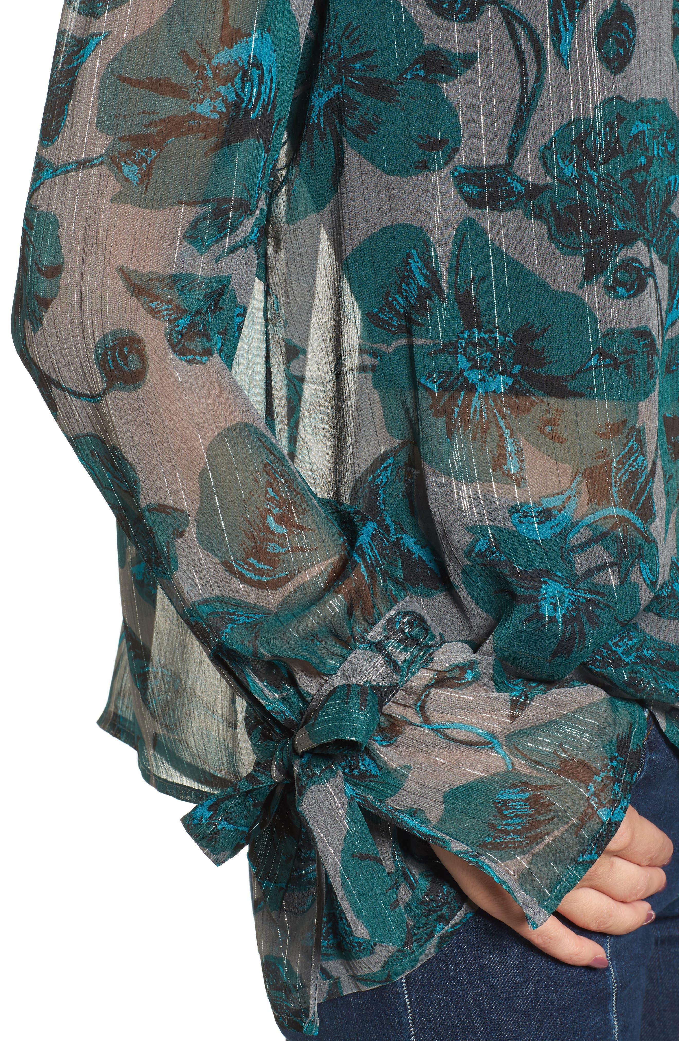 Alternate Image 4  - BP. Sheer Metallic Floral Shirt