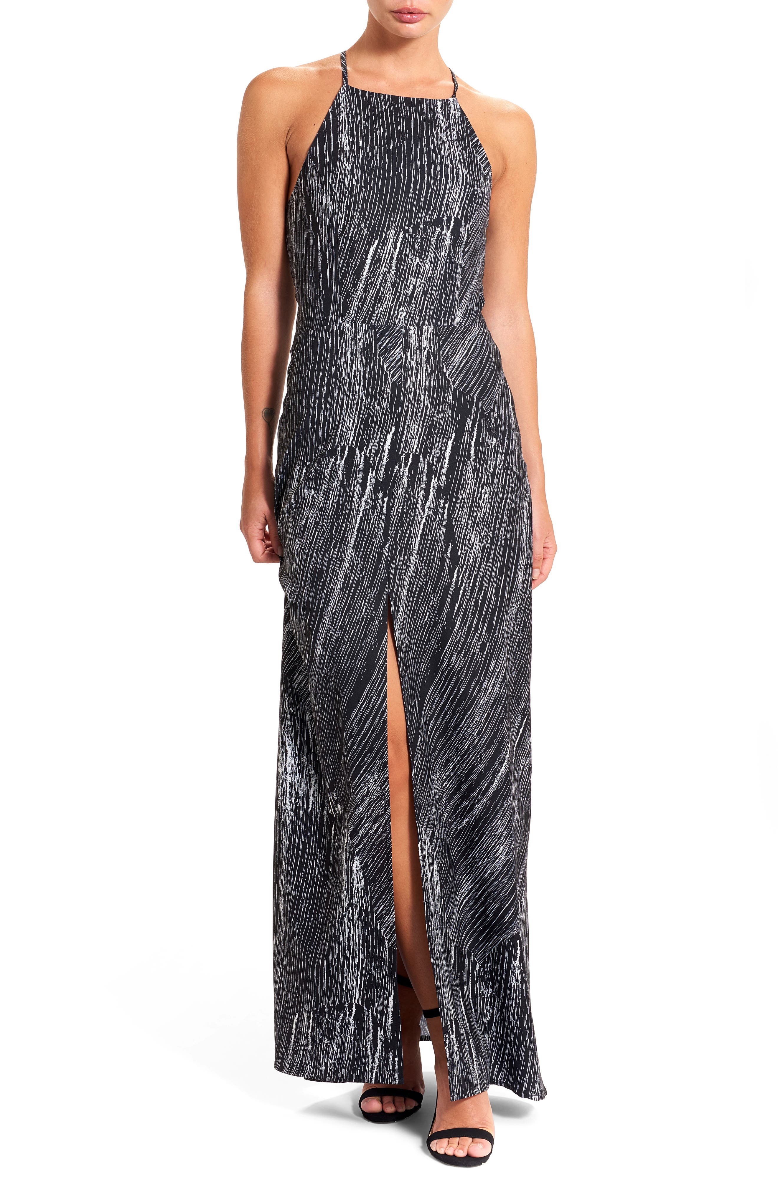 Halter Maxi Dress,                         Main,                         color, Creme/ Black