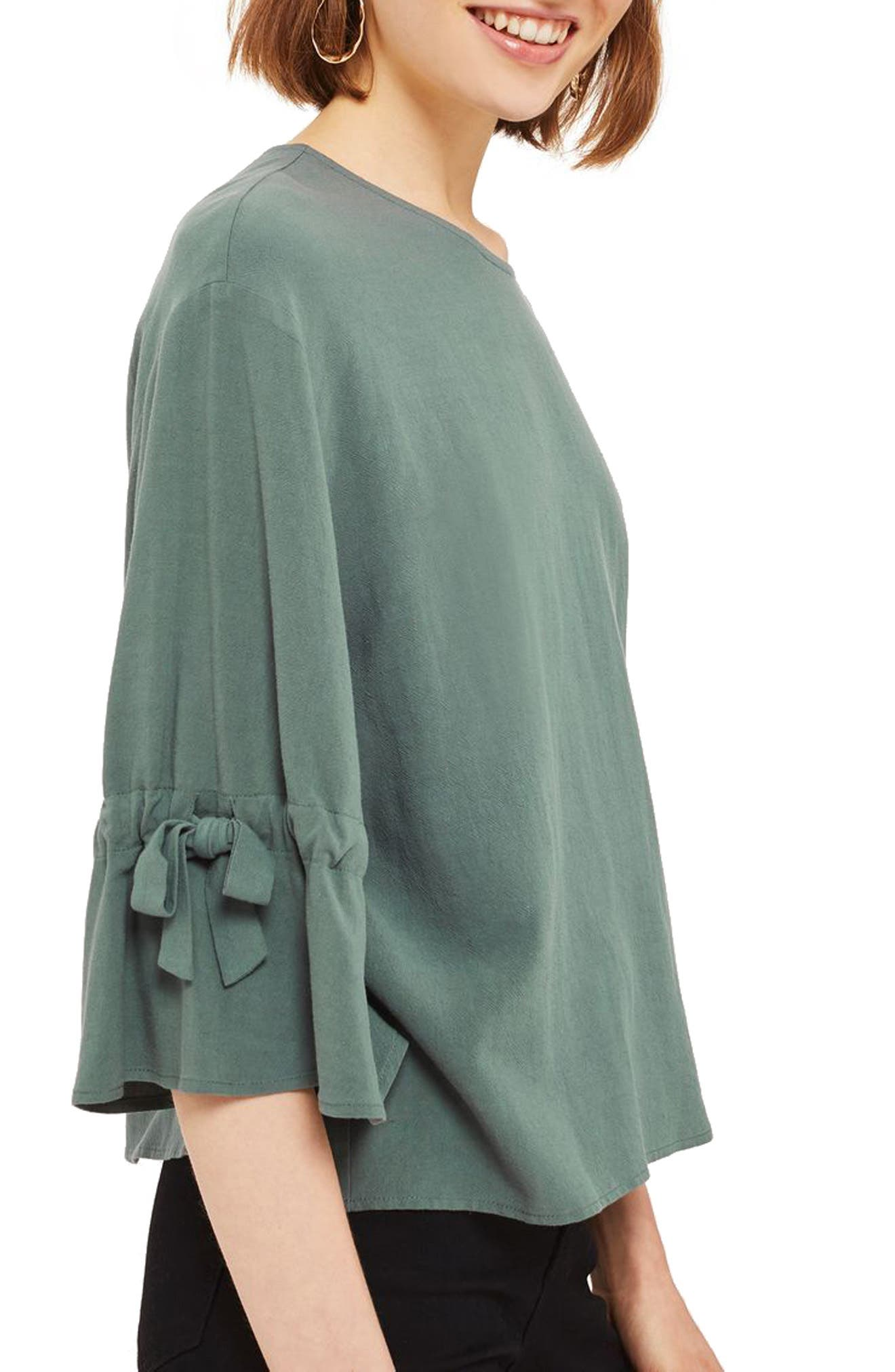 Topshop Molly Tie Sleeve Blouse