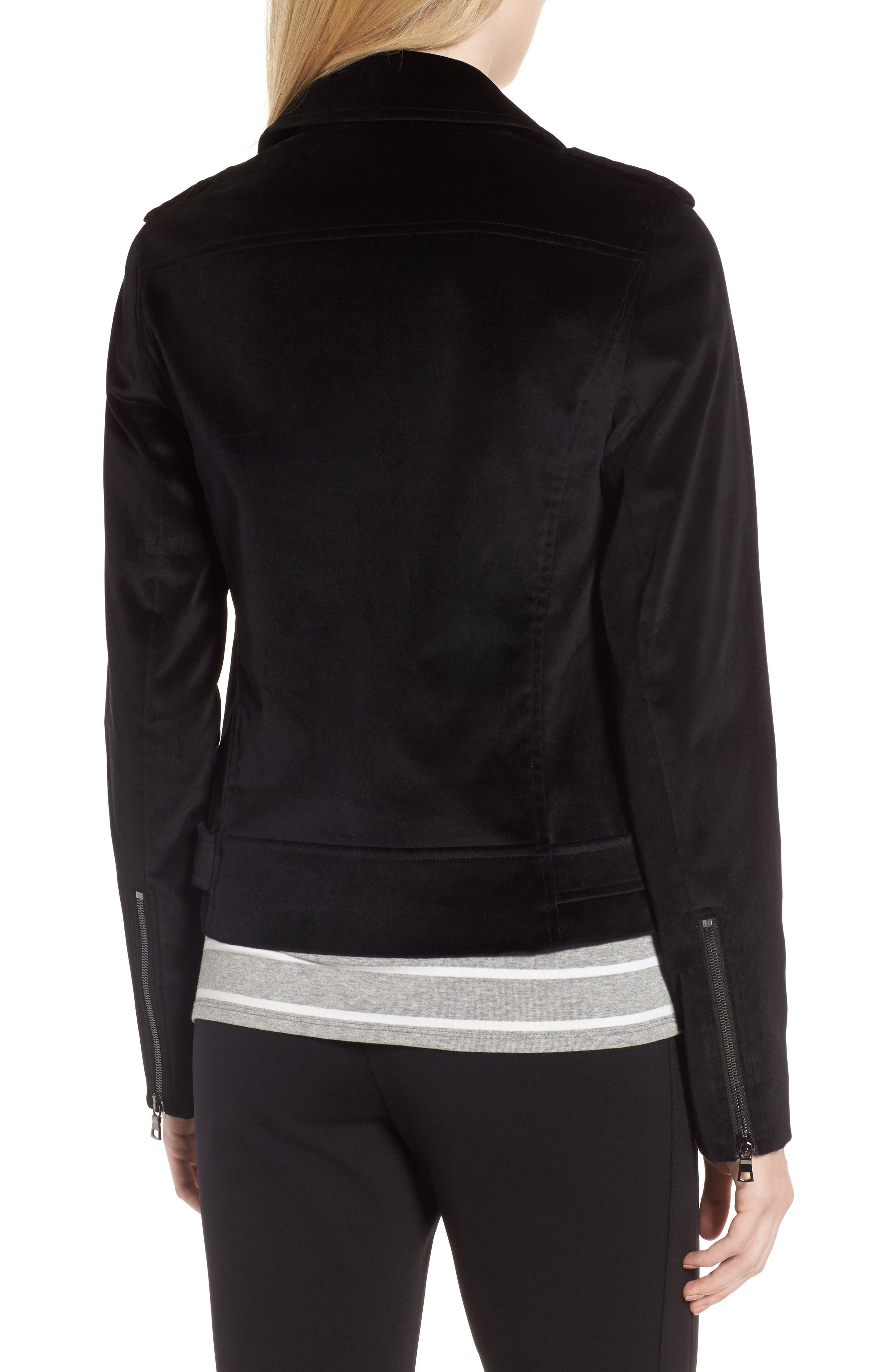 Velvet Moto Jacket,                             Alternate thumbnail 3, color,                             Black