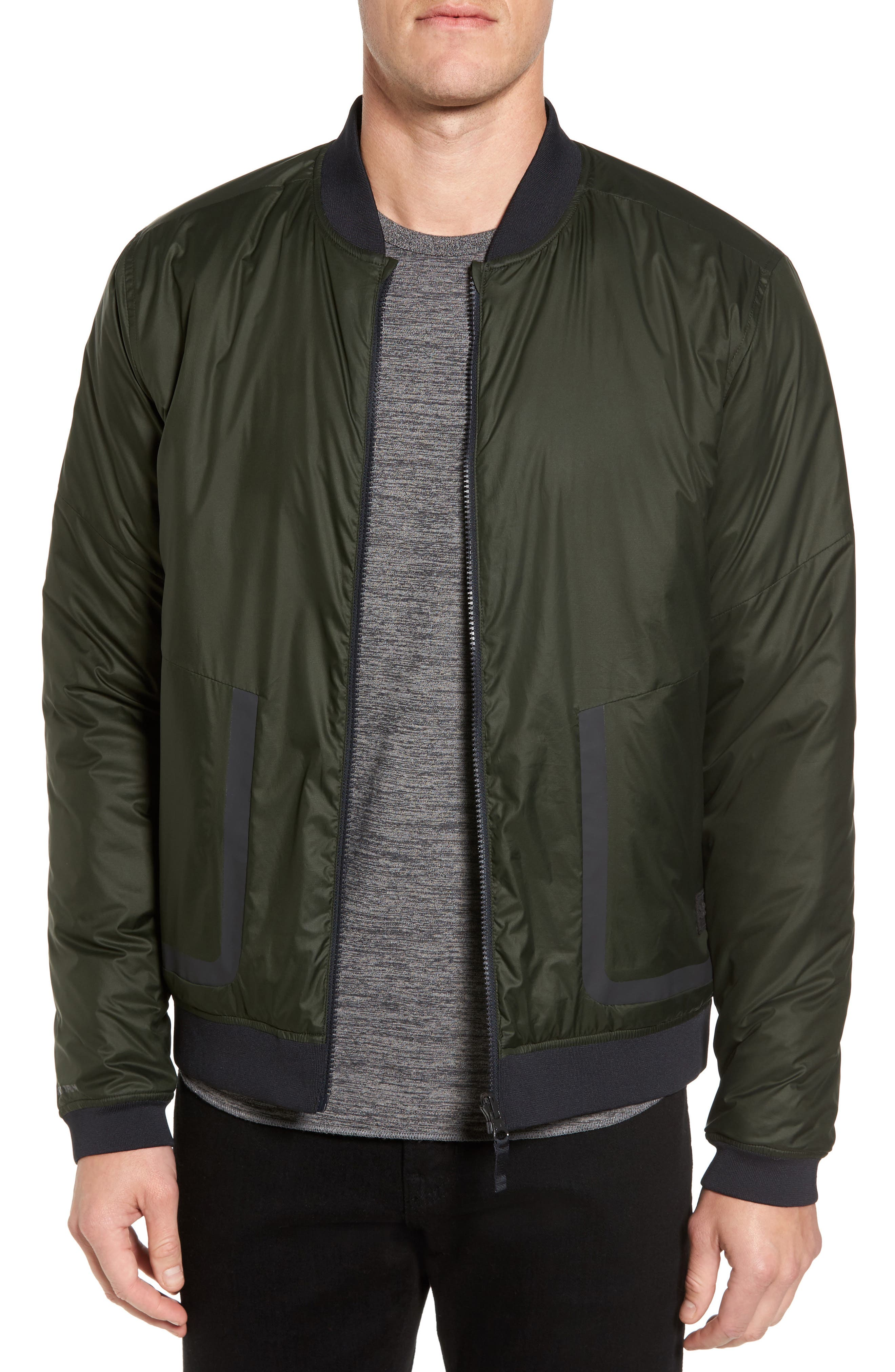 Sportstyle Reactor Reversible Bomber Jacket,                         Main,                         color, Green / Moss Green / Black