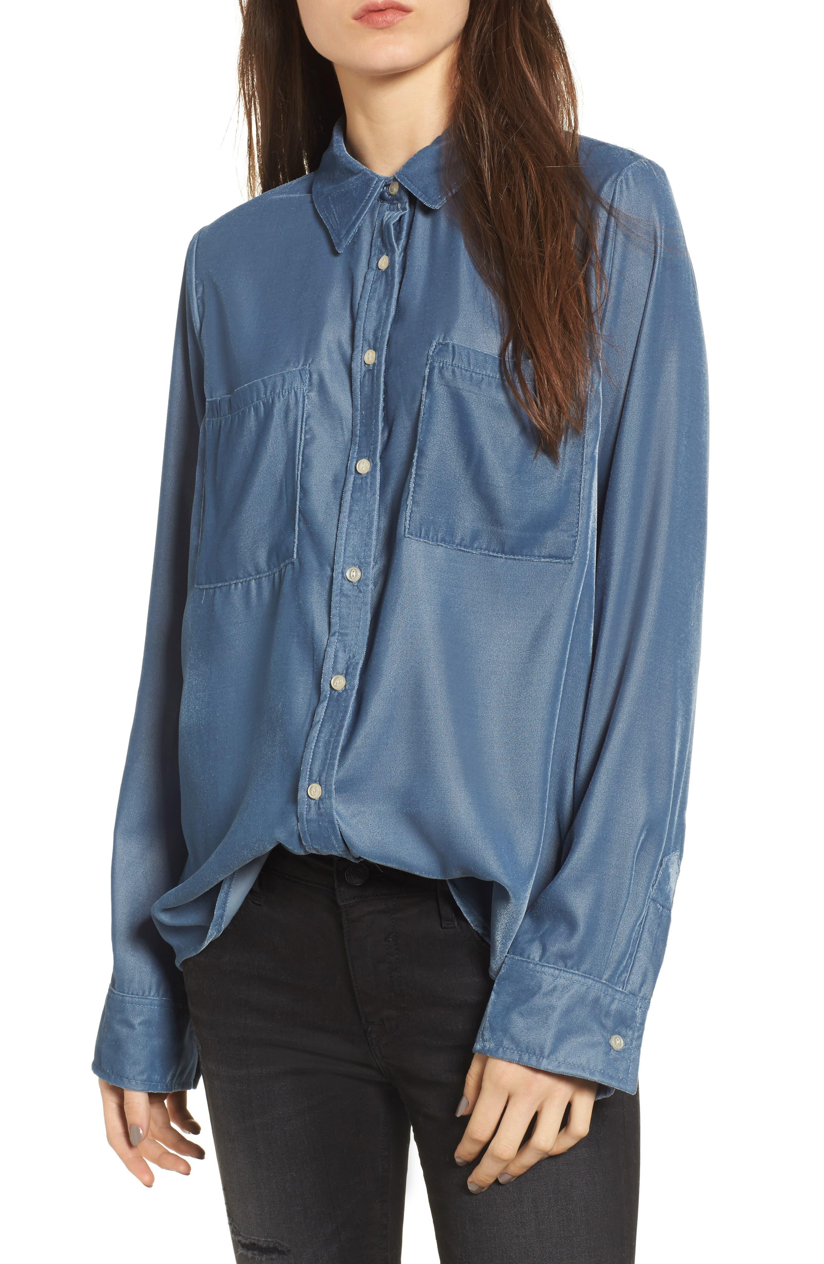 Velvet Shirt,                         Main,                         color, Slate Blue