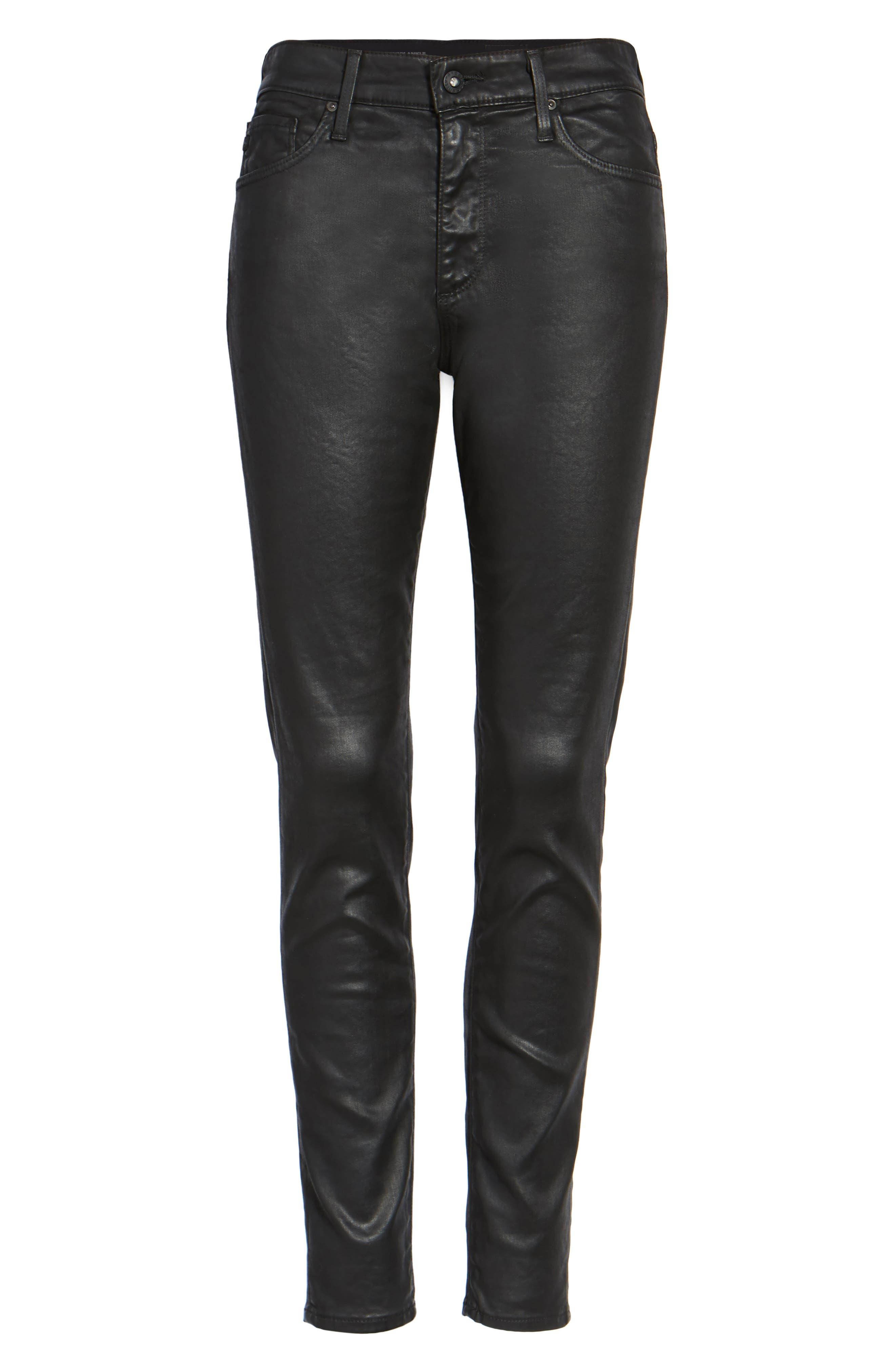 Farrah High Waist Ankle Skinny Jeans,                             Alternate thumbnail 6, color,                             Leatherette Super Black