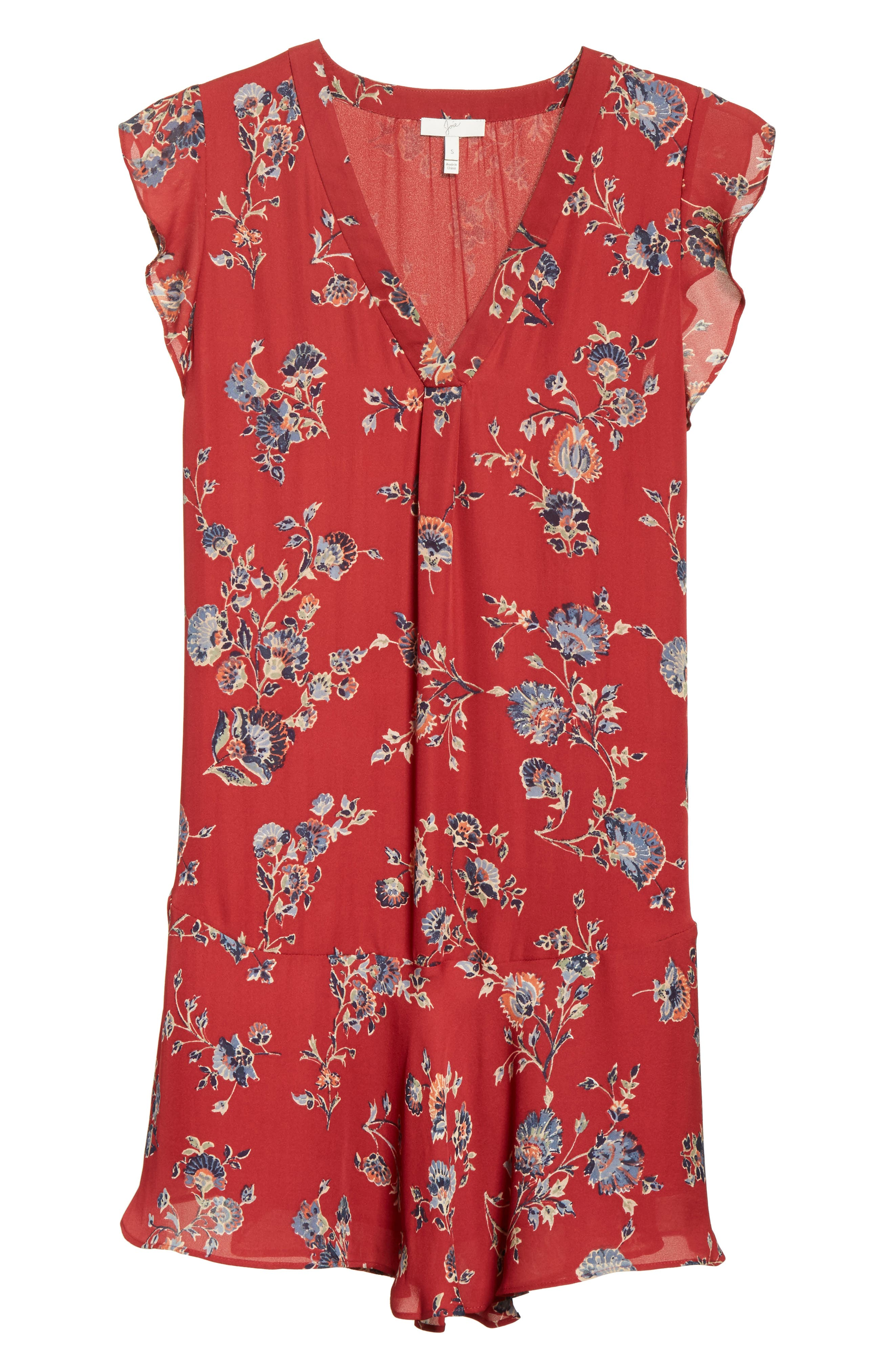 Almarie Floral Silk Mindress,                             Alternate thumbnail 6, color,                             Tandoori Red