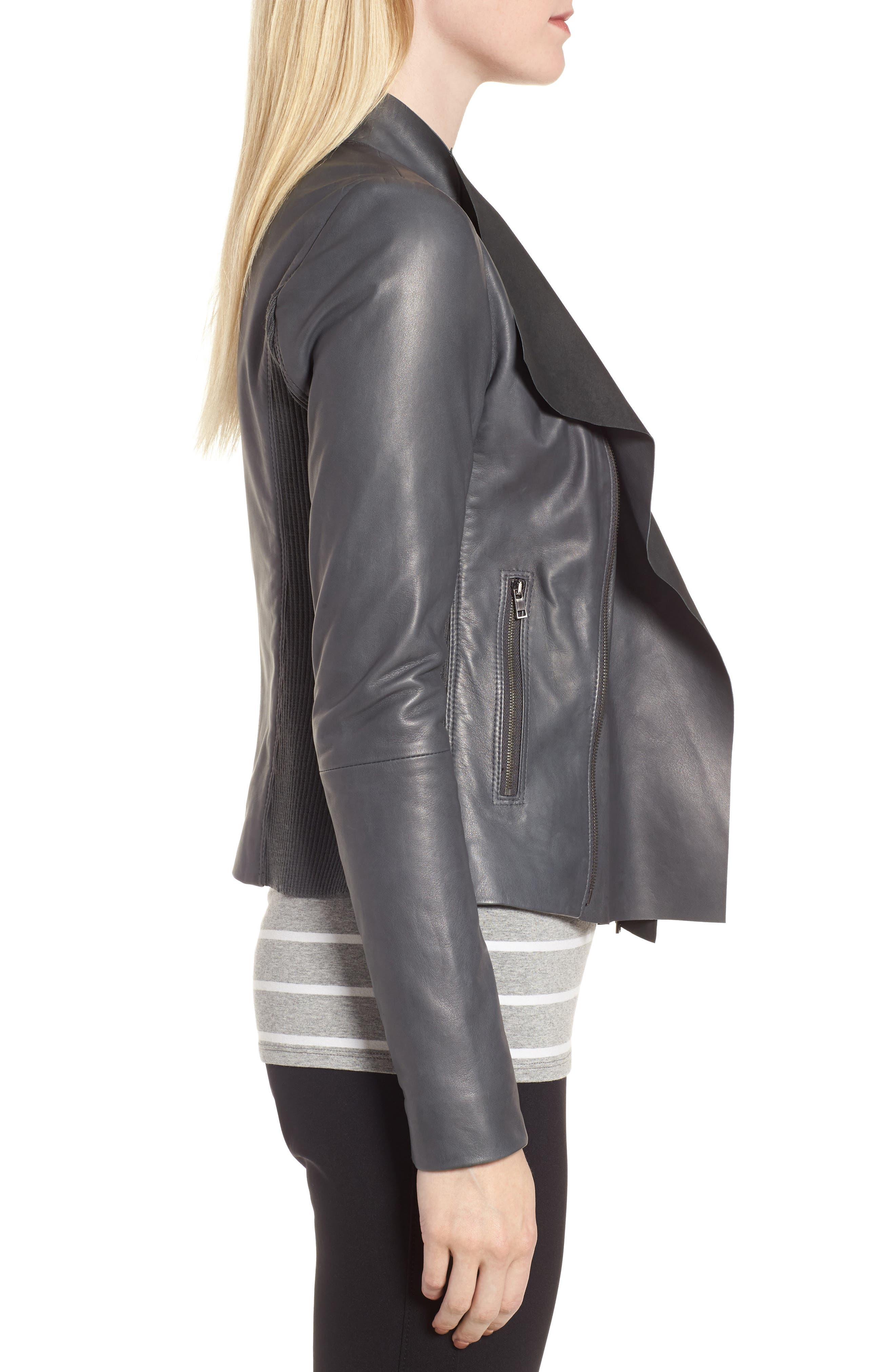 Alternate Image 3  - Nordstrom Signature Cascade Front Leather Jacket