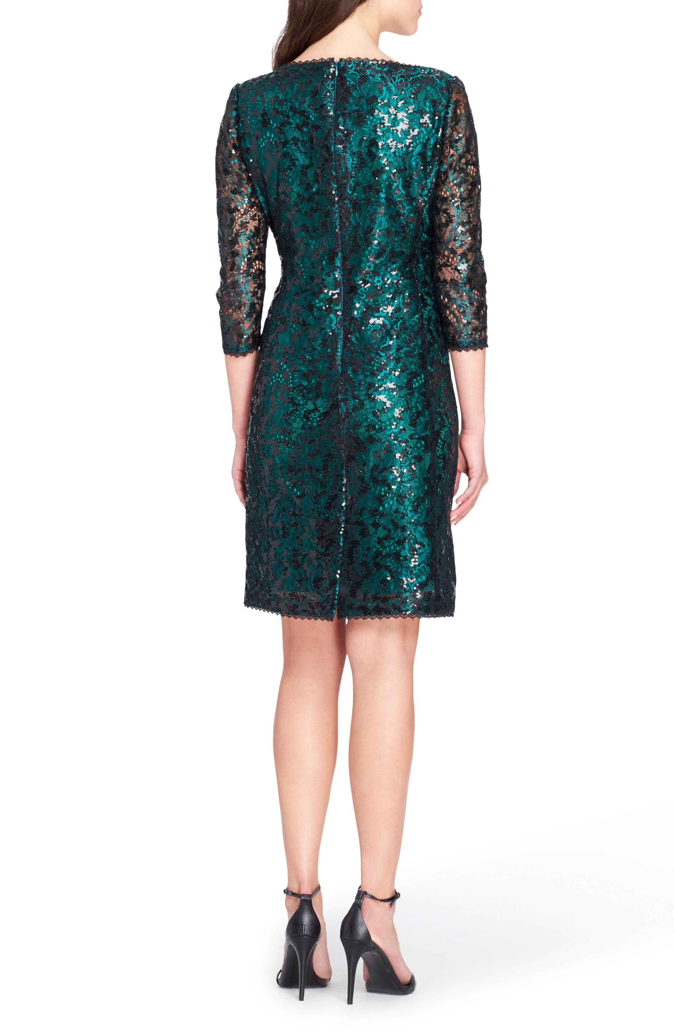 Chemical Lace Sheath Dress,                             Alternate thumbnail 2, color,                             Emerald Green/ Black