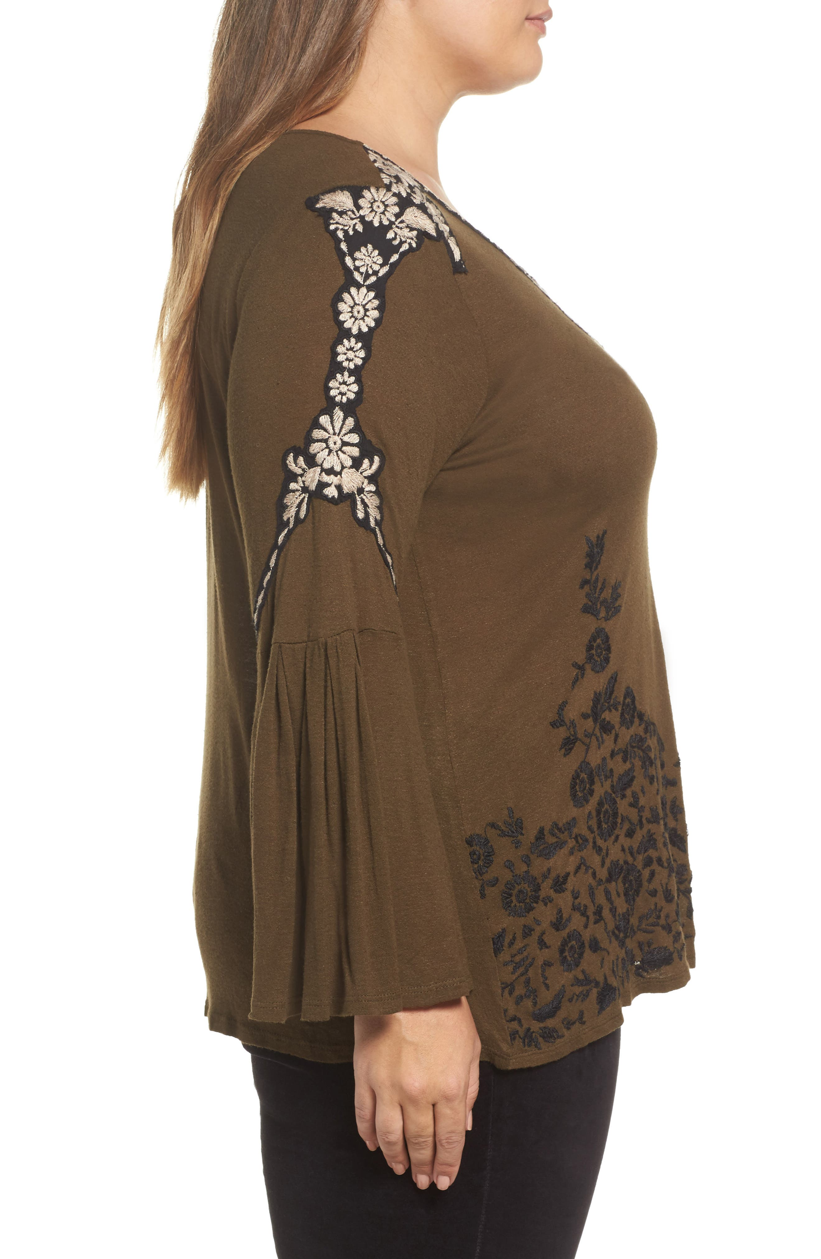 Embroidered Bell Sleeve Top,                             Alternate thumbnail 3, color,                             Olive