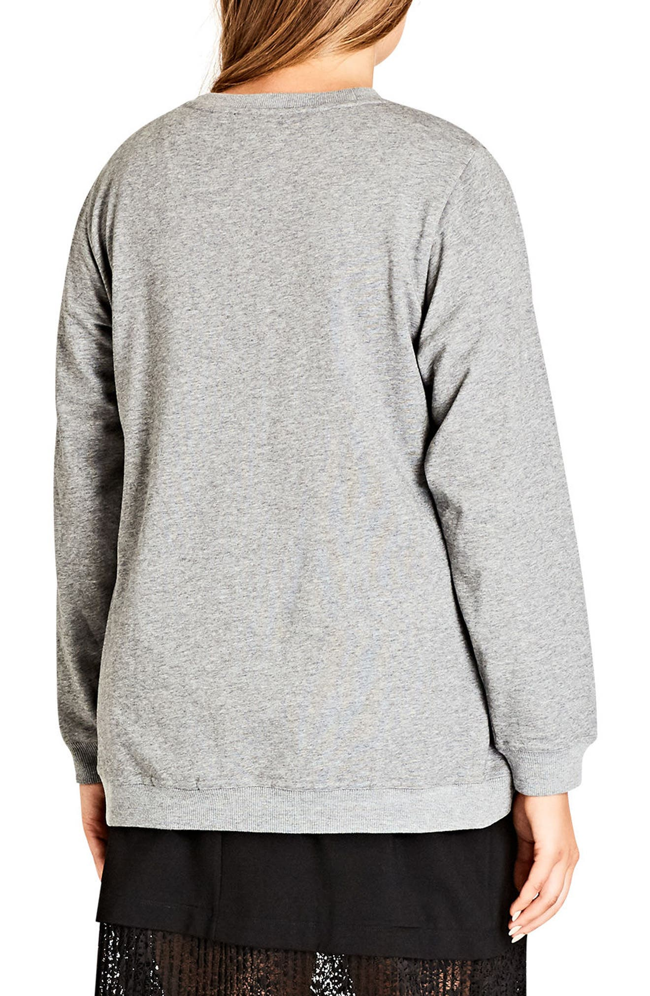 Alternate Image 2  - City Chic Vibes Glitter Graphic Sweatshirt (Plus Size)