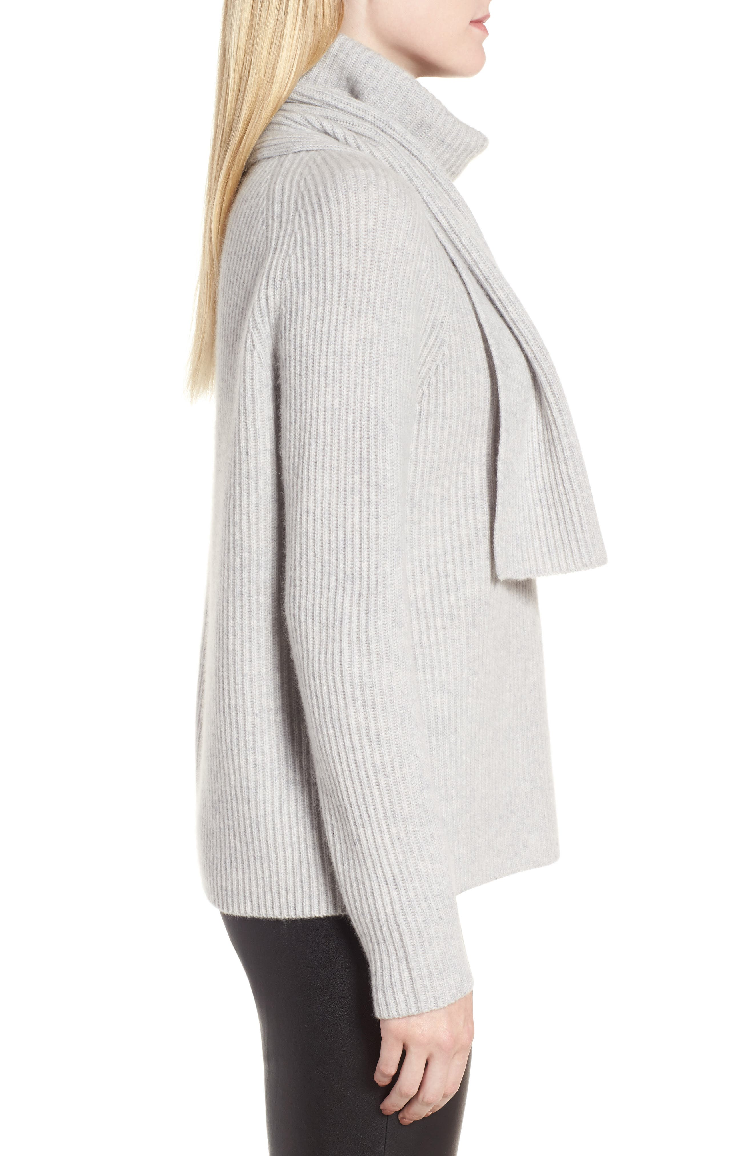 Scarf Neck Cashmere Sweater,                             Alternate thumbnail 4, color,                             Grey Clay Heather