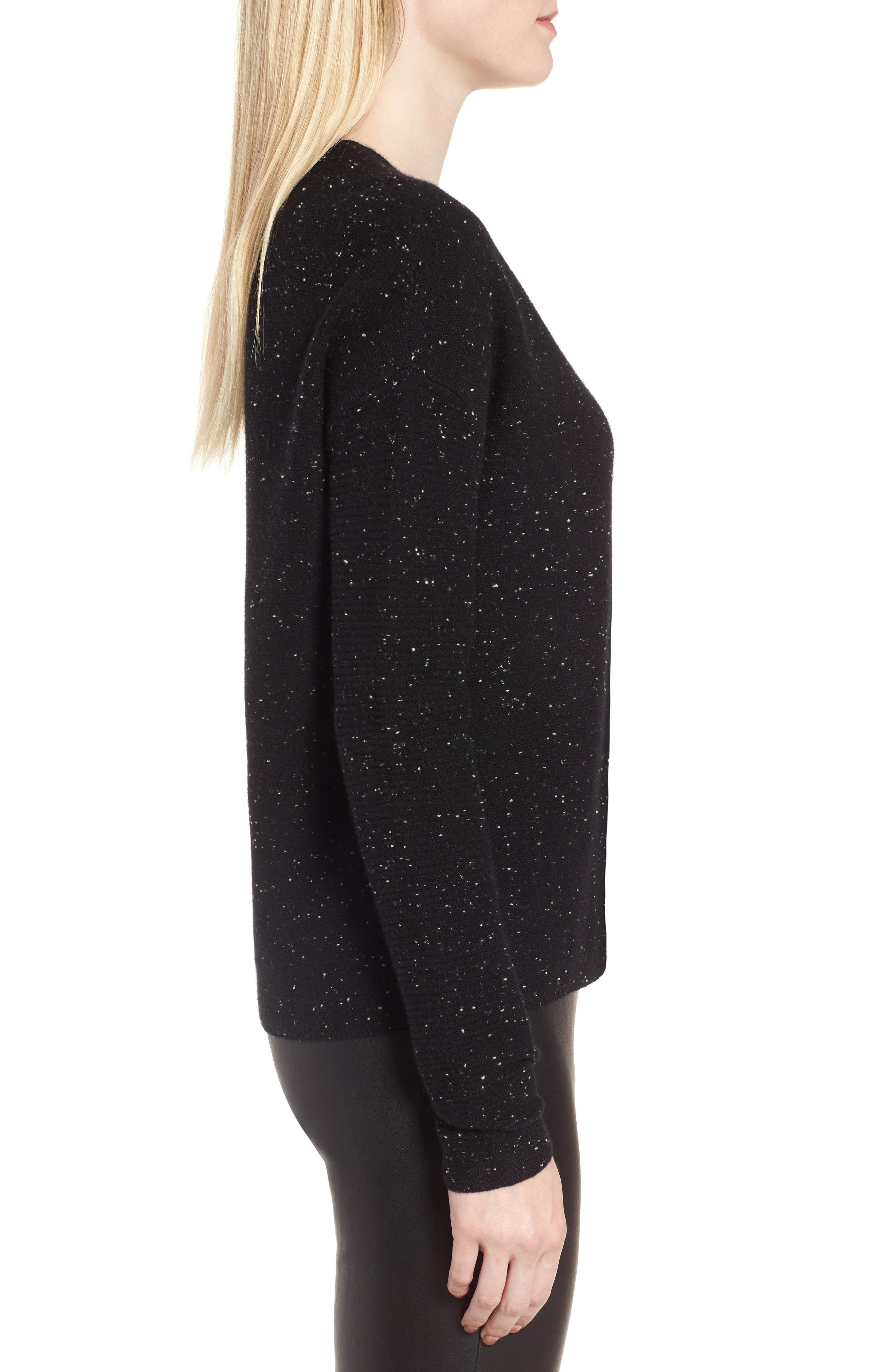 Textured Cashmere V-Neck Sweater,                             Alternate thumbnail 3, color,                             Black Tweed