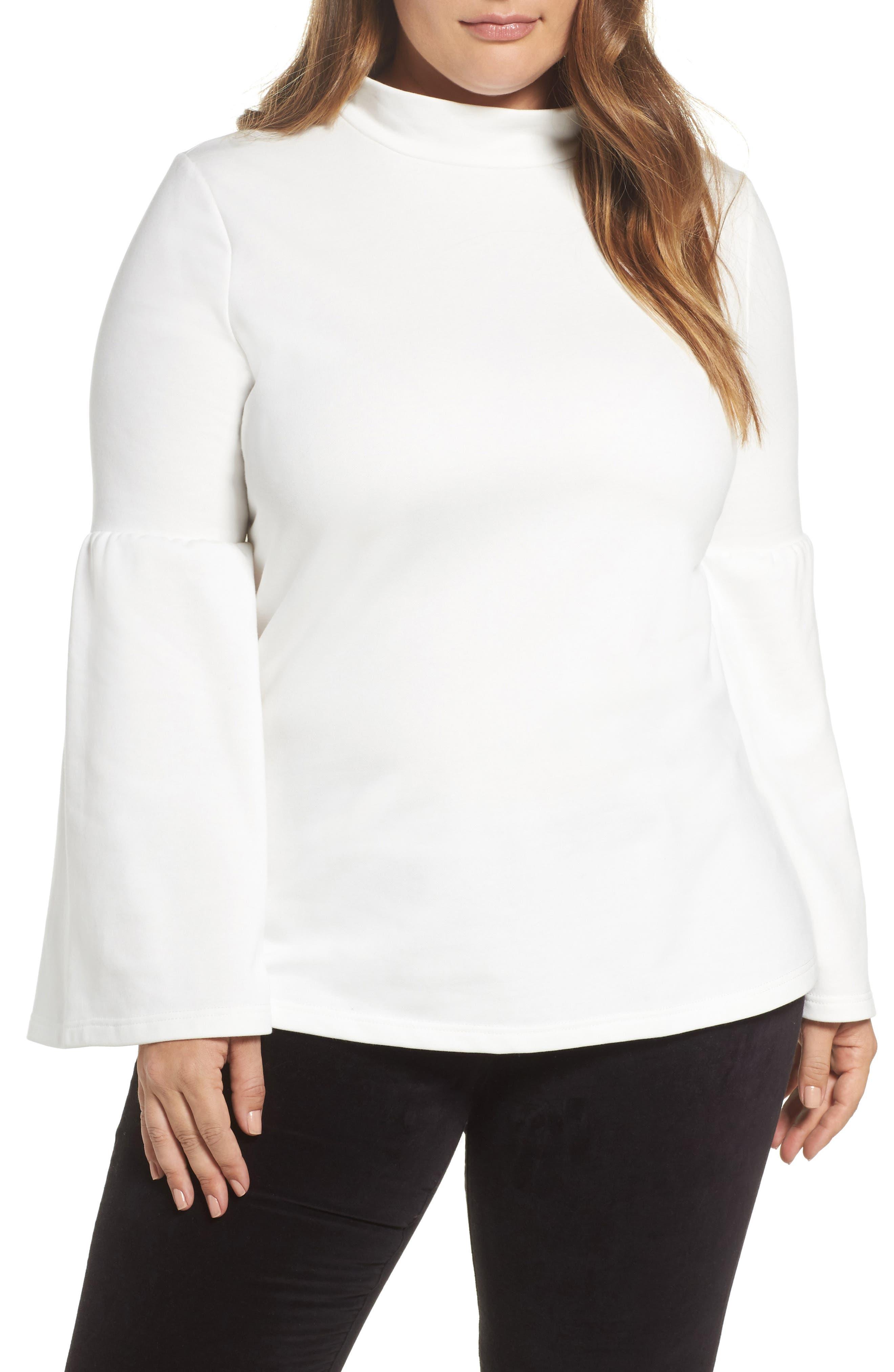 Glamorous Mock Neck Bell Sleeve Tunic (Plus Size)