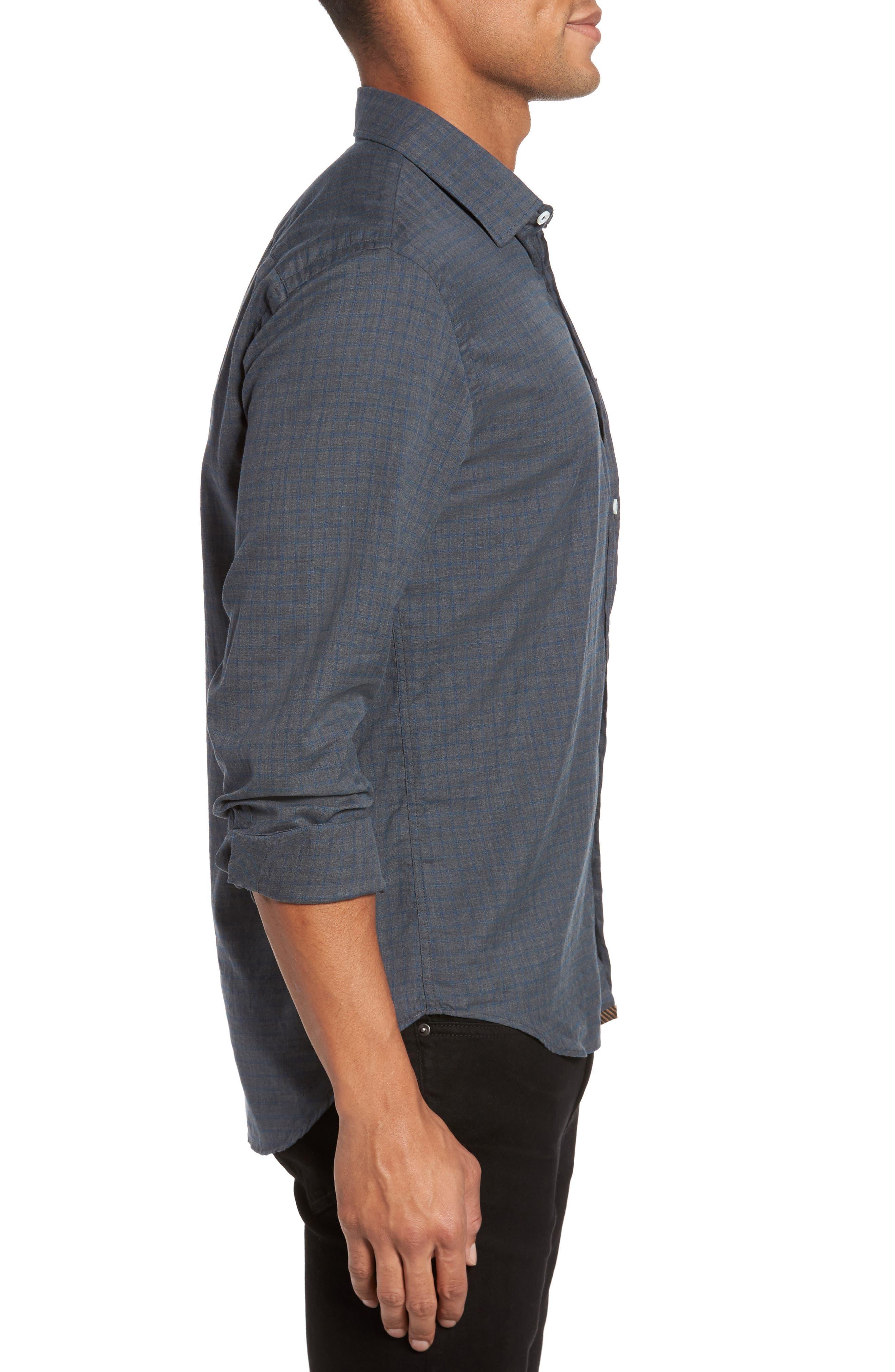 Kirby Slim Fit Check Sport Shirt,                             Alternate thumbnail 3, color,                             Grey/ Cobalt