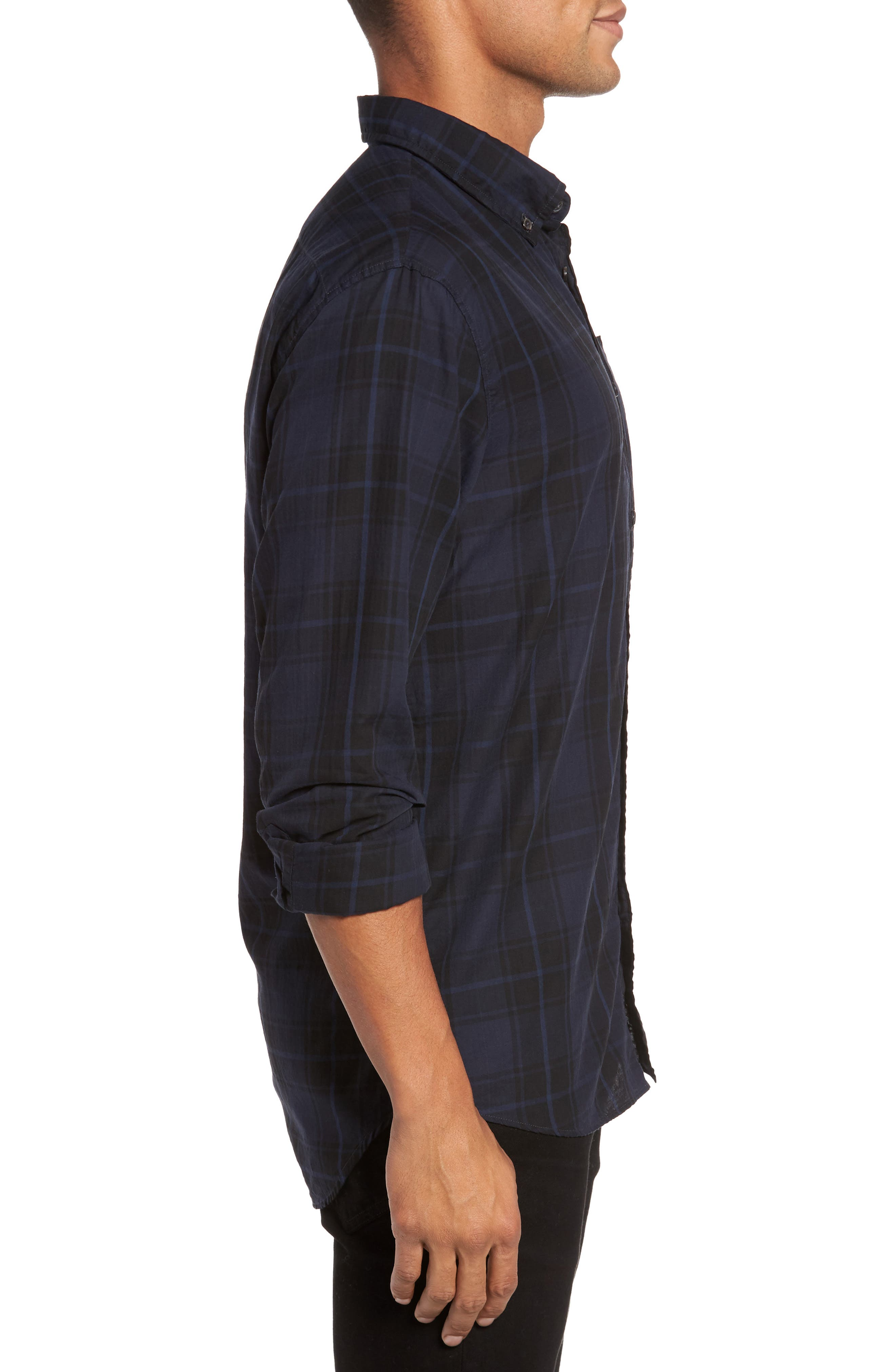 Wallace Slim Fit Sport Shirt,                             Alternate thumbnail 3, color,                             Navy/ Black