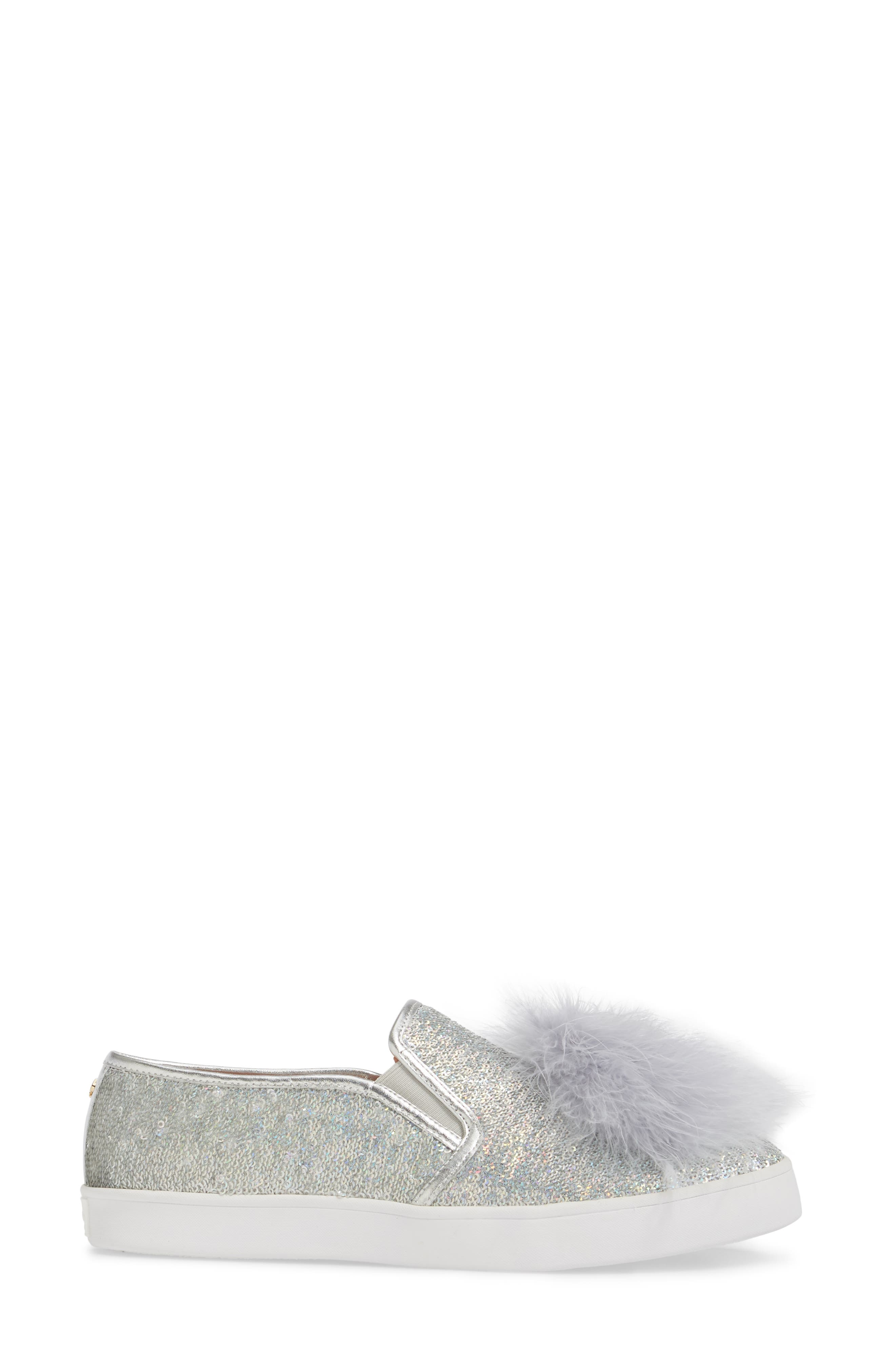 sequin slip-on sneaker,                             Alternate thumbnail 3, color,                             Silver Sequins