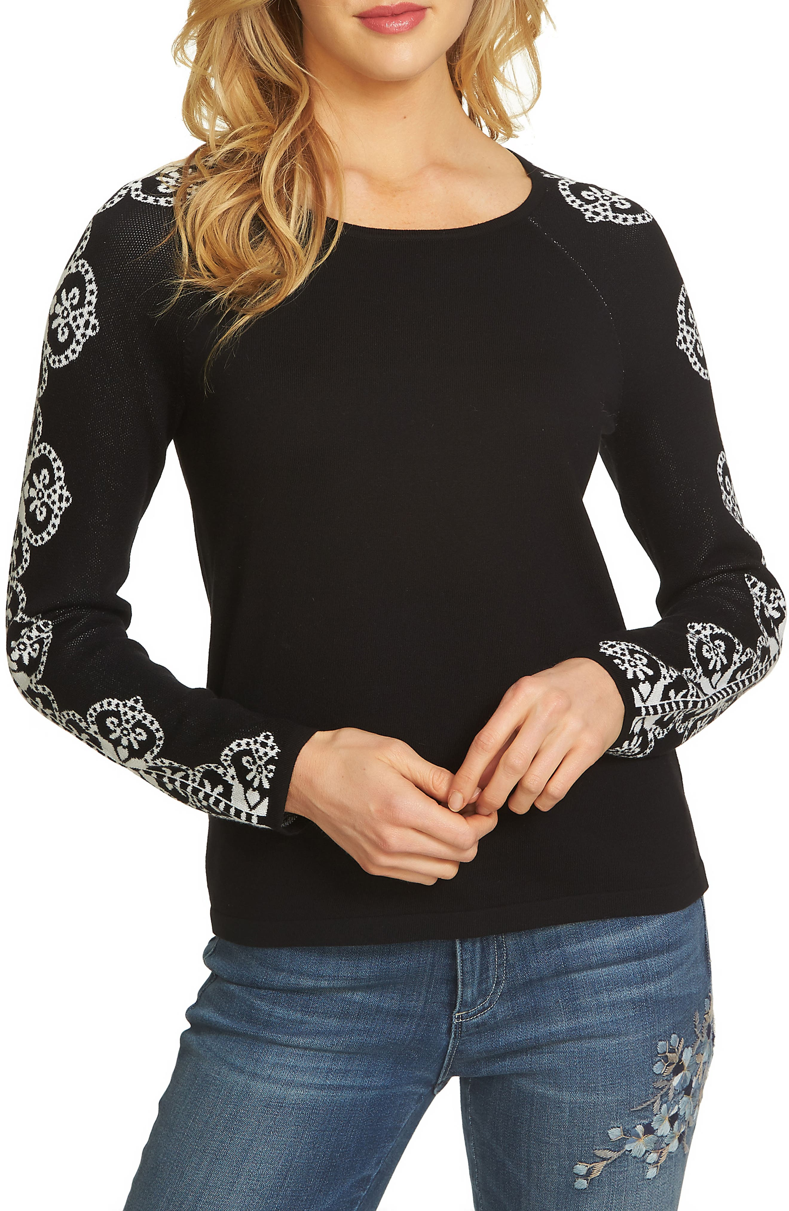 CeCe Jacquard Sleeve Sweater