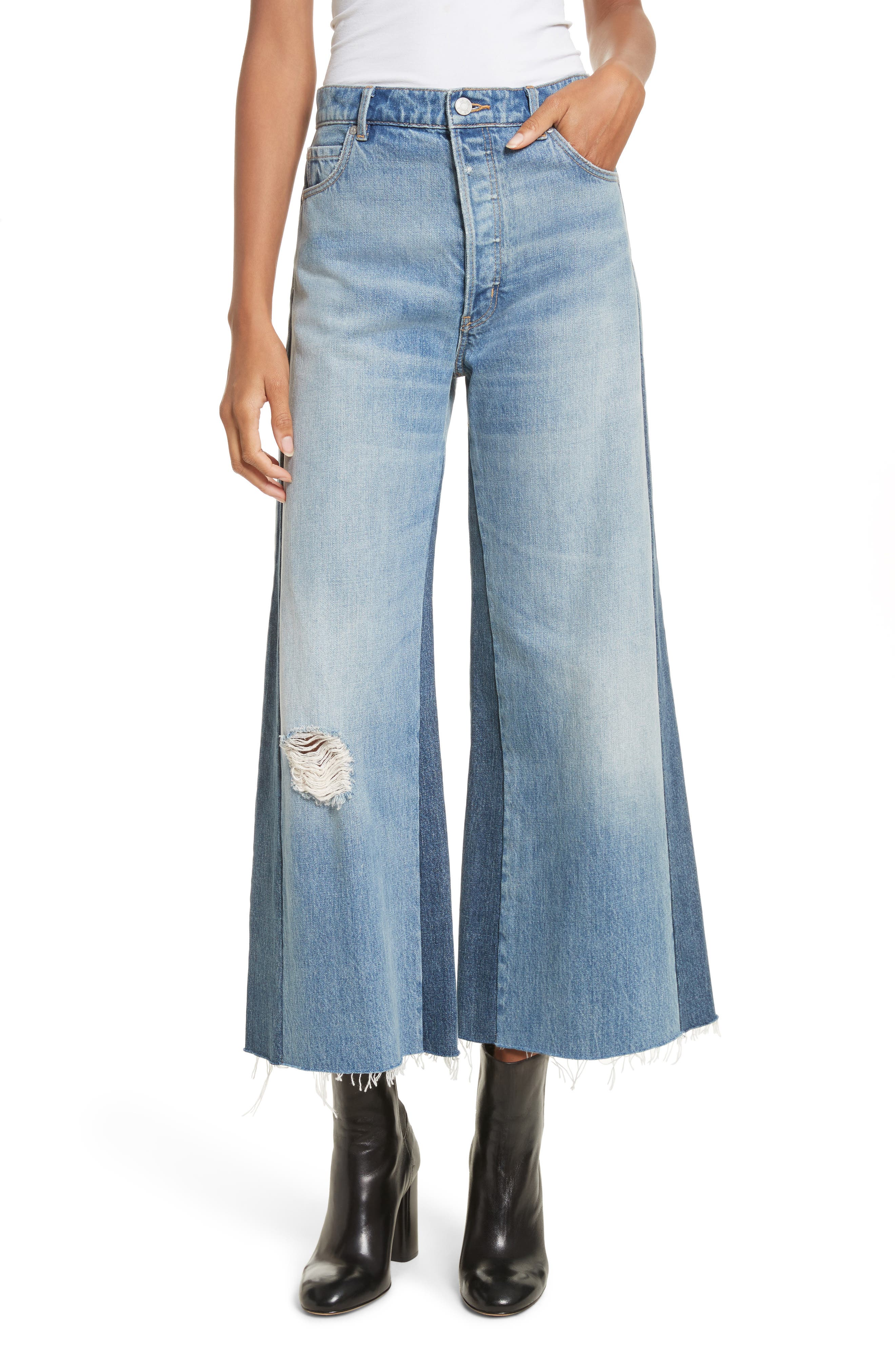 Main Image - La Vie Rebecca Taylor Wide Leg Rigid Jeans (Soft Sky Wash)