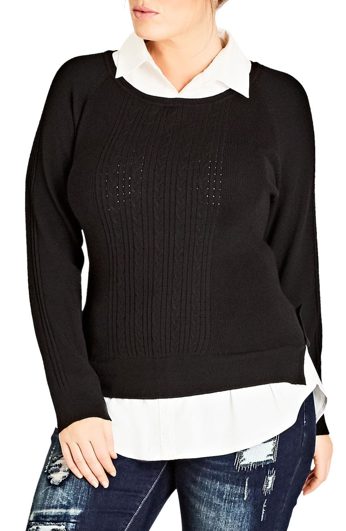 City Chic Woven Trim Cable Knit Sweater (Plus Size)