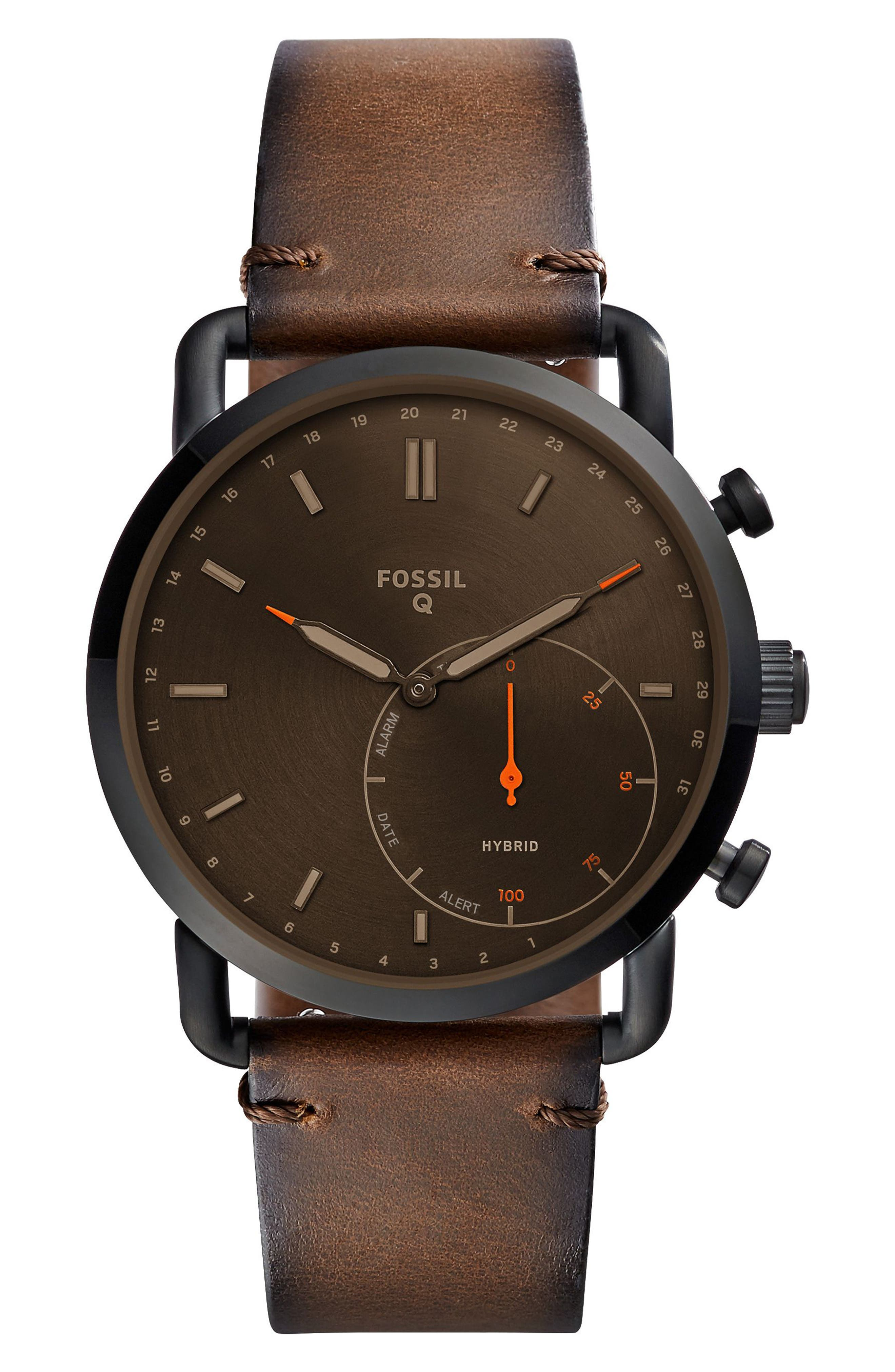 Commuter Leather Strap Hybrid Smart Watch, 42mm,                         Main,                         color, Brown/ Black