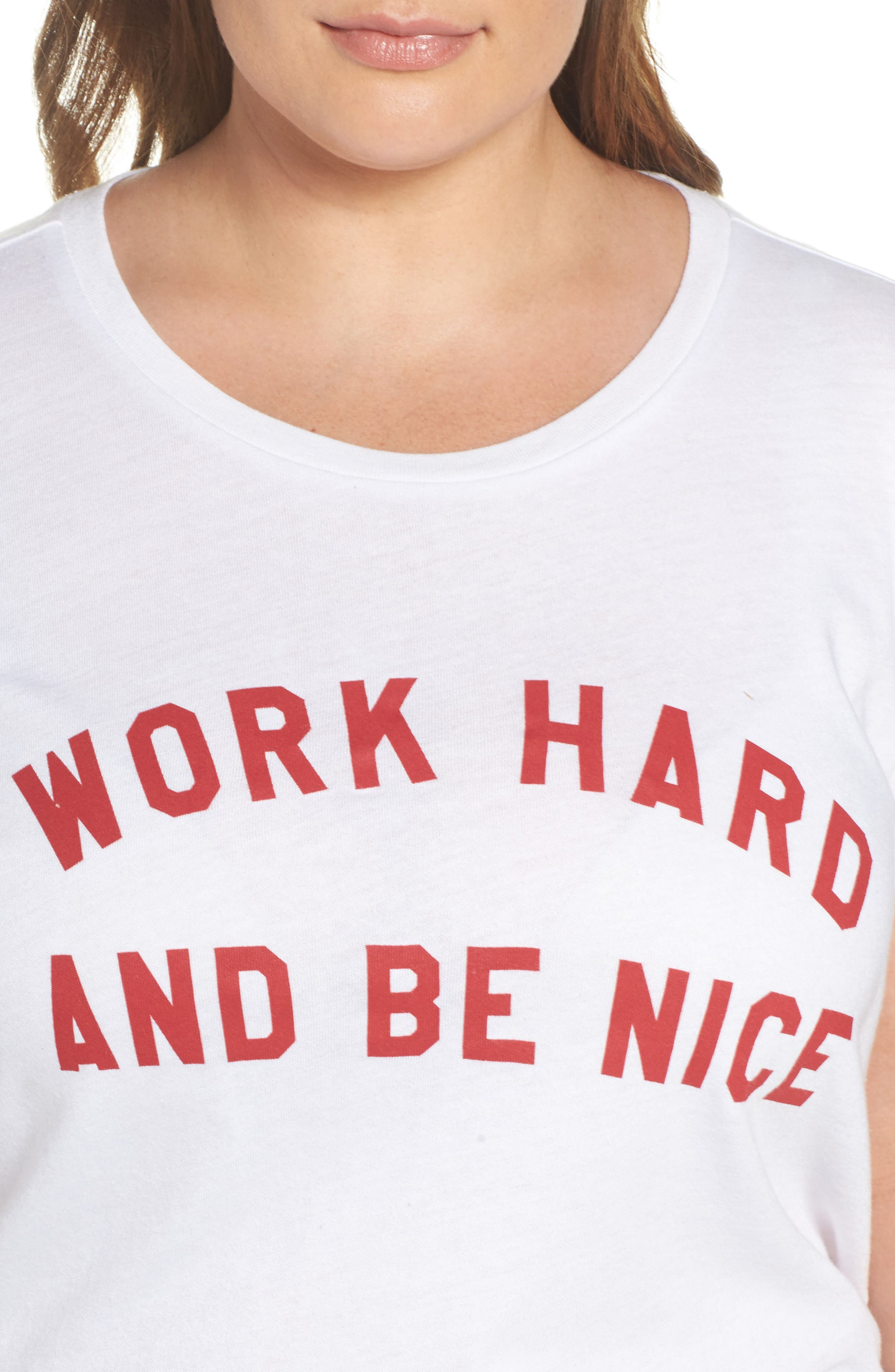 Work Hard & Be Nice Tee,                             Alternate thumbnail 4, color,                             White