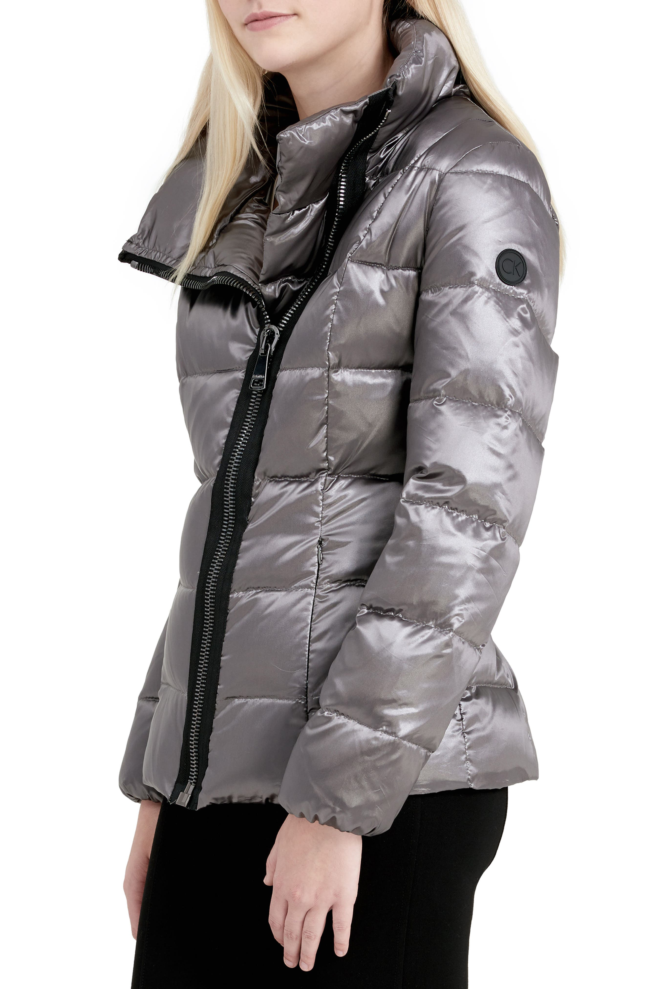 Asymmetrical Zip Down Jacket,                             Alternate thumbnail 3, color,                             Shine Granite