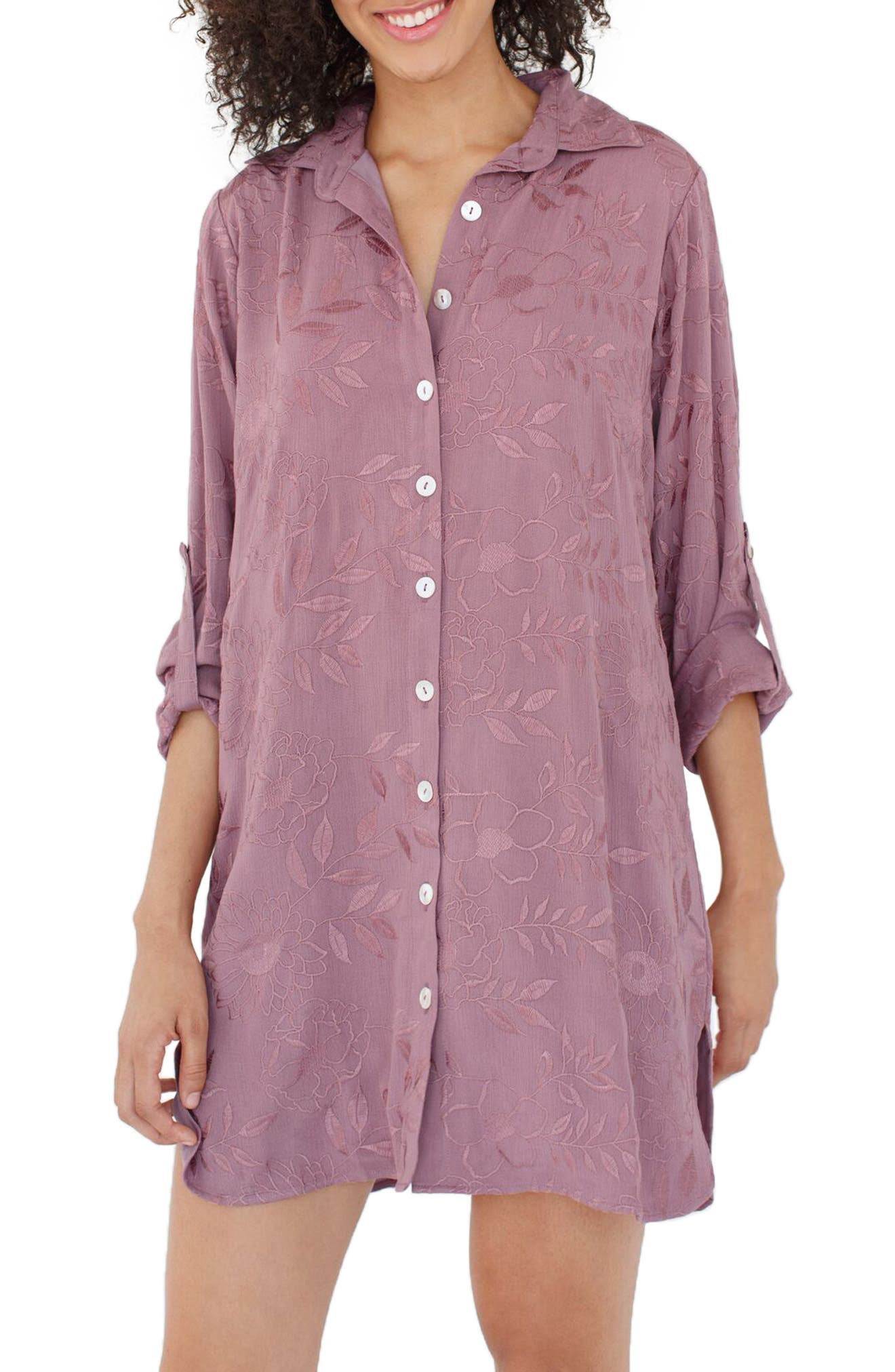 Floral Embroidered Nightshirt,                             Main thumbnail 1, color,                             Love In Her Heart